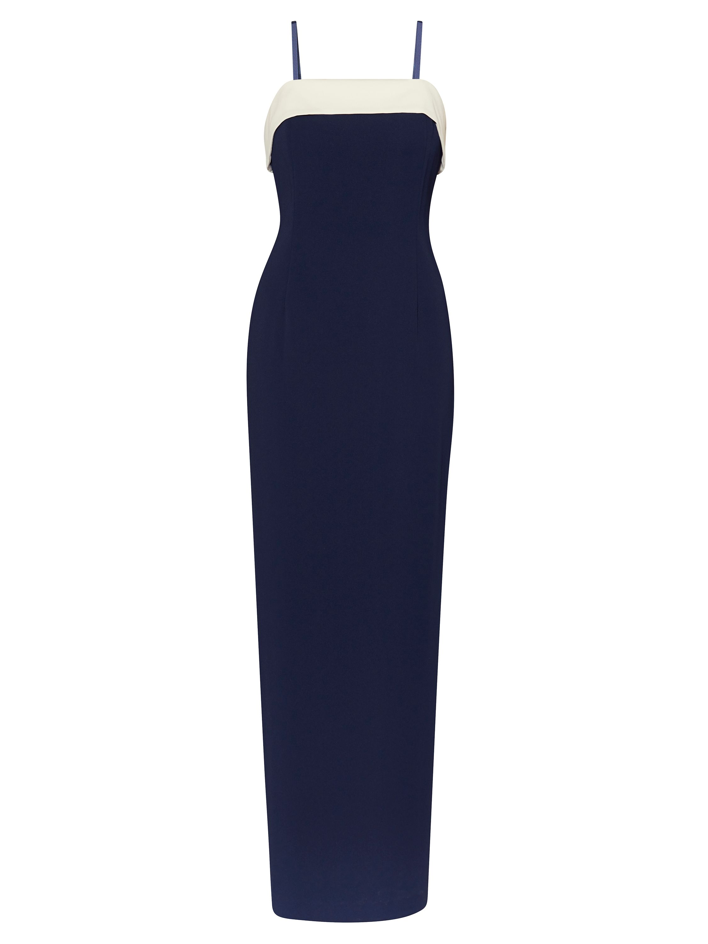 Gina Bacconi Moss crepe maxi dress with contrast band, Blue