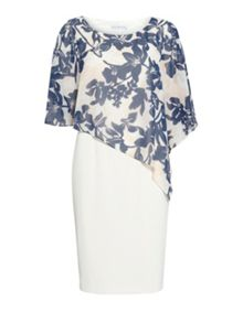 Gina Bacconi Crepe dress with print chiffon cape