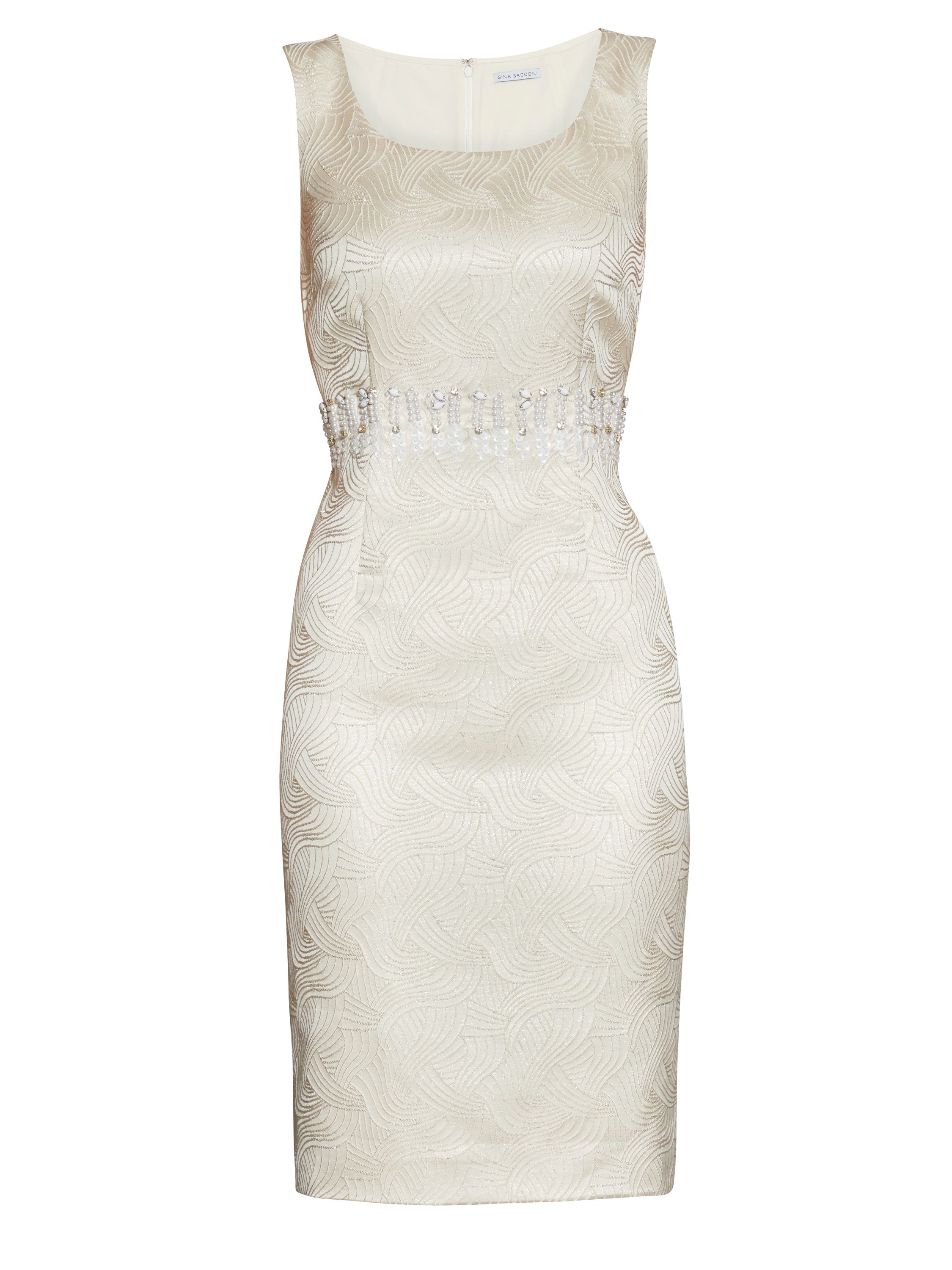 Gina Bacconi Artex metallic jacquard beaded dress, Cream