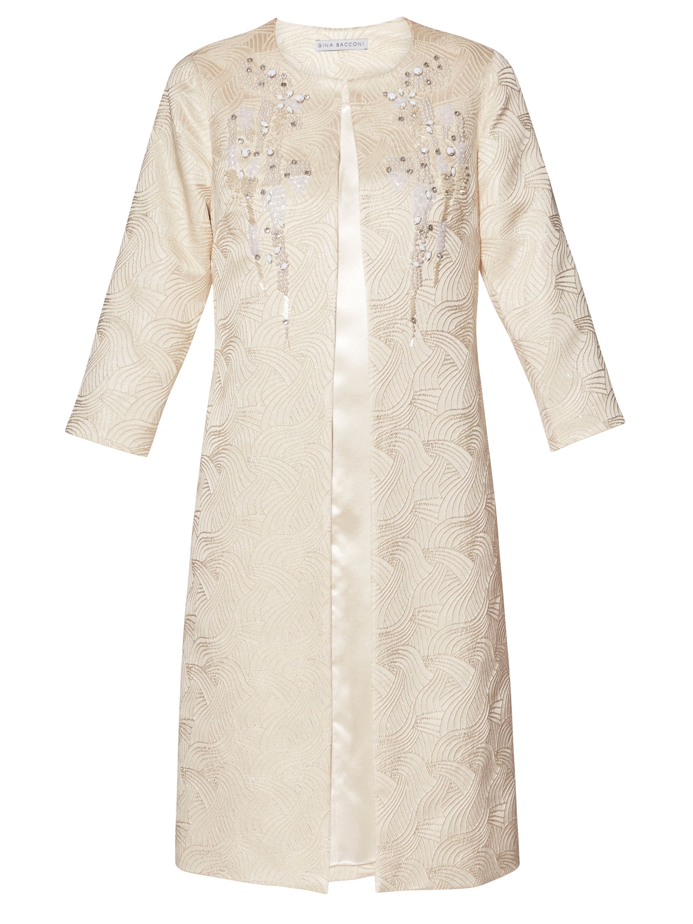Gina Bacconi Aertex metallic jacquard beaded coat, Cream