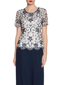 Gina Bacconi Beaded top with scallop hem