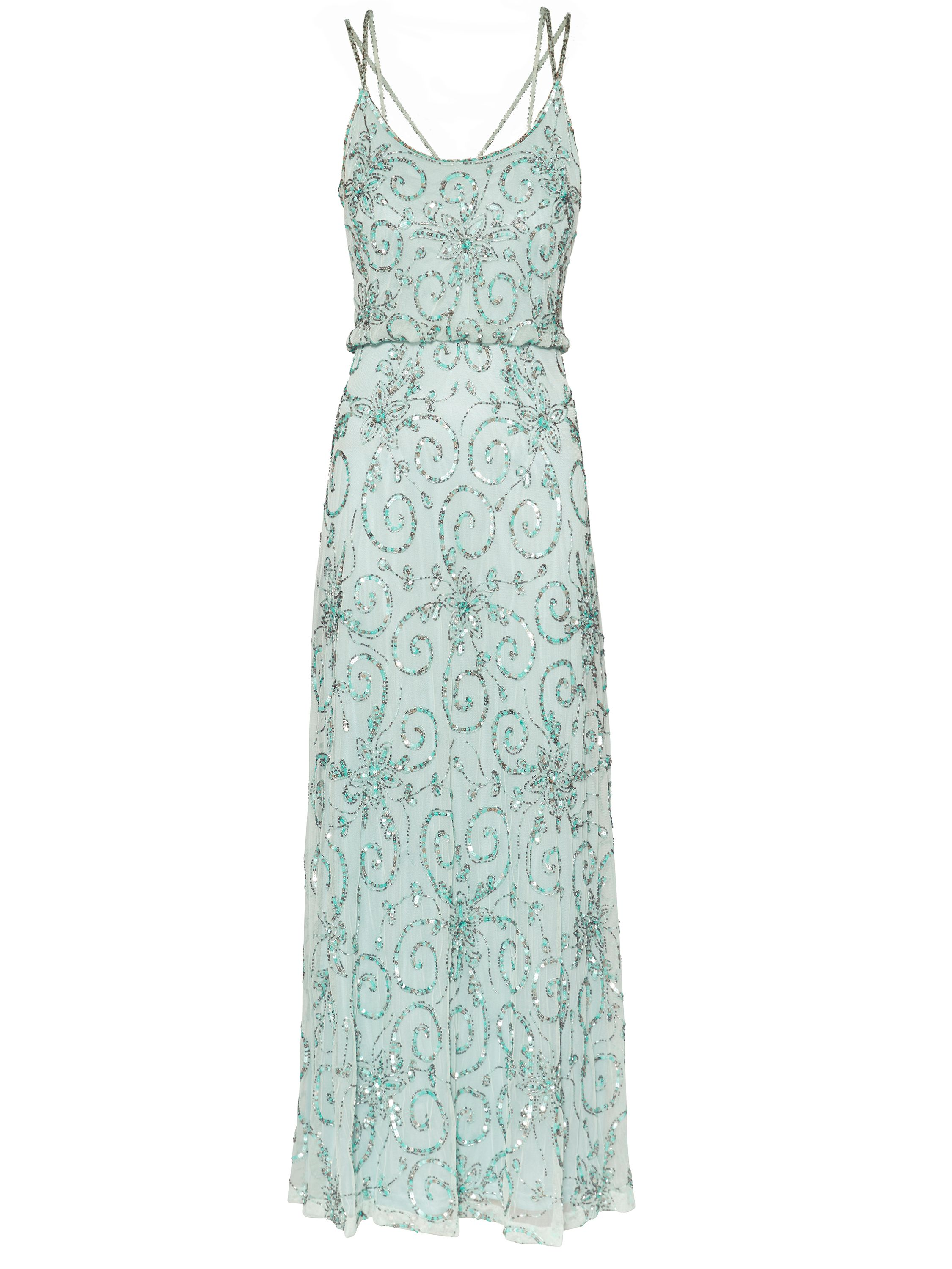 Gina Bacconi Strappy beaded maxi dress, Green