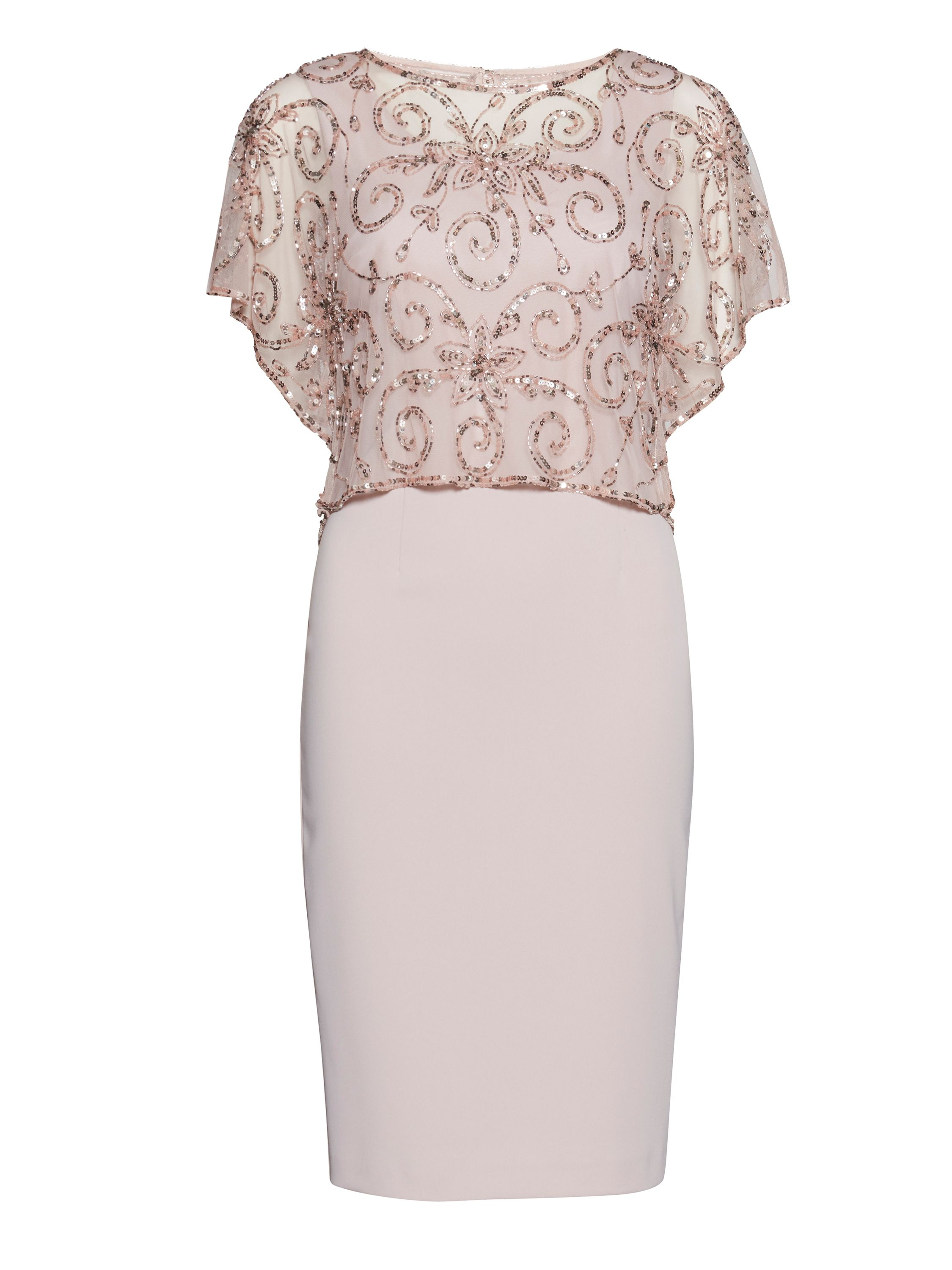 Gina Bacconi Crepe dress with beaded over top, Pink