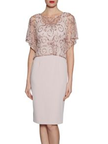Gina Bacconi Crepe dress with beaded over top