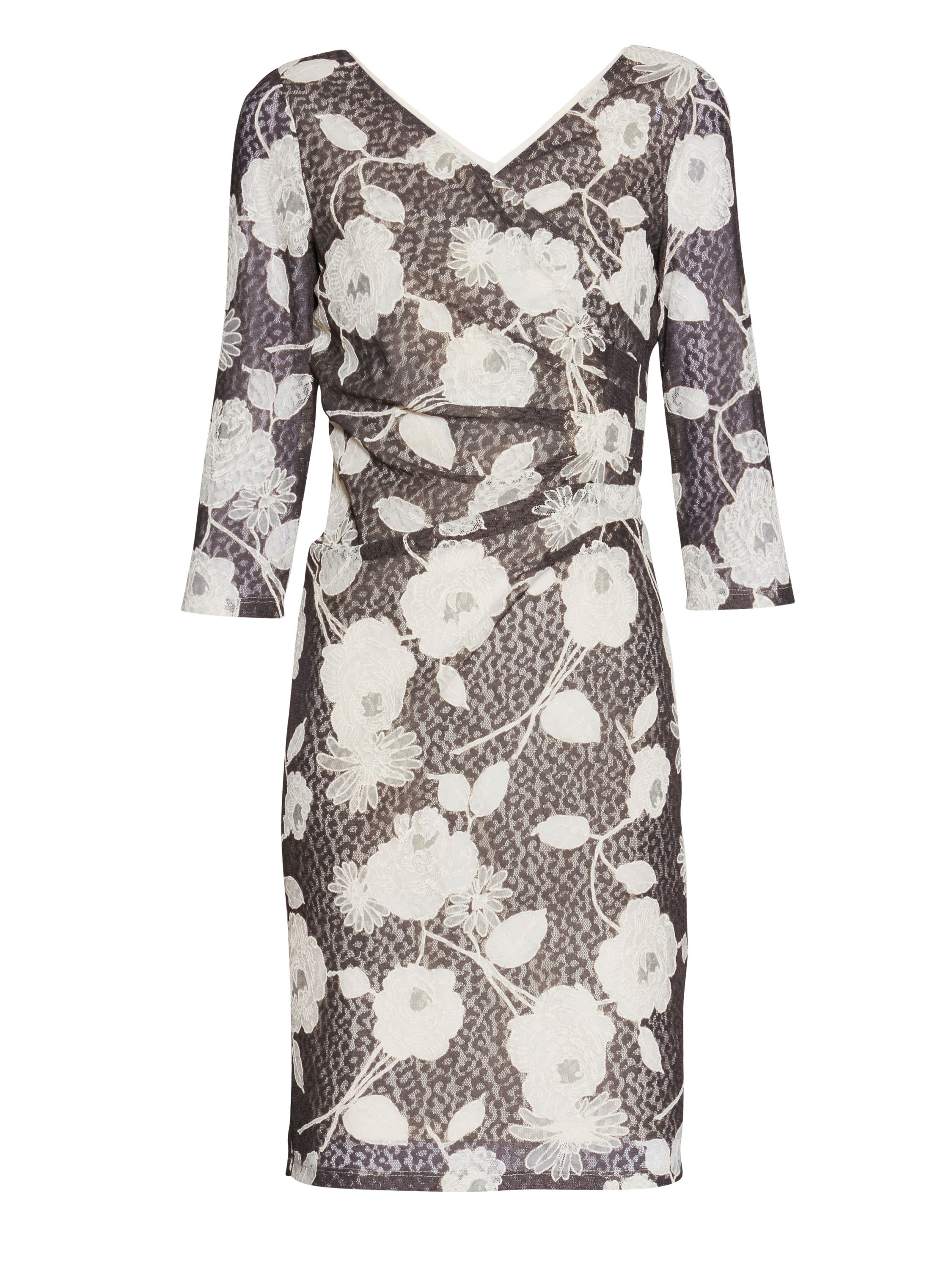 Gina Bacconi 3d floral printed lace Dress, Grey