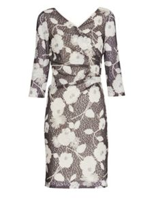 Gina Bacconi 3d floral printed lace Dress