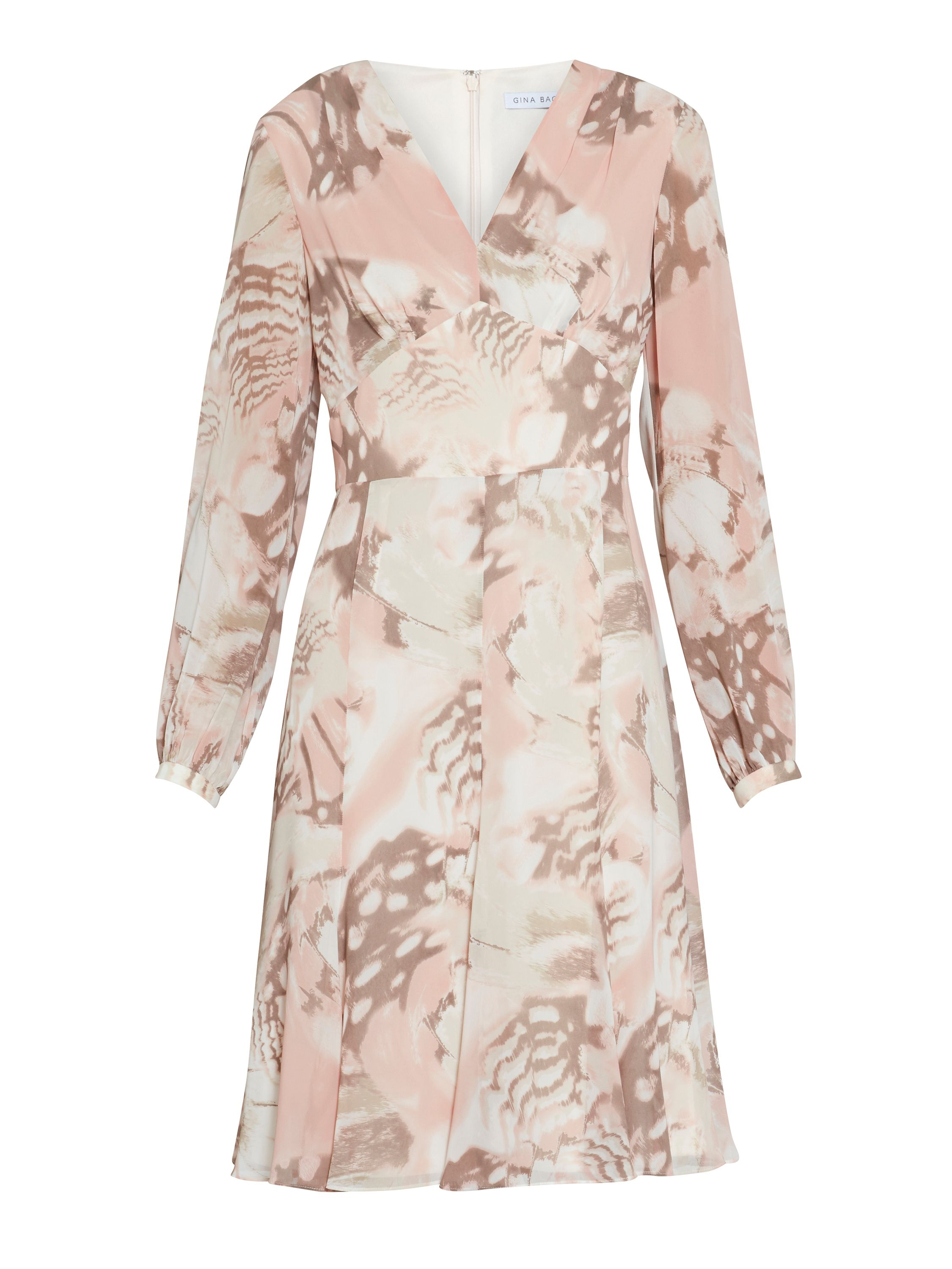 Gina Bacconi Taupe blush watercolour chiffon dress, White