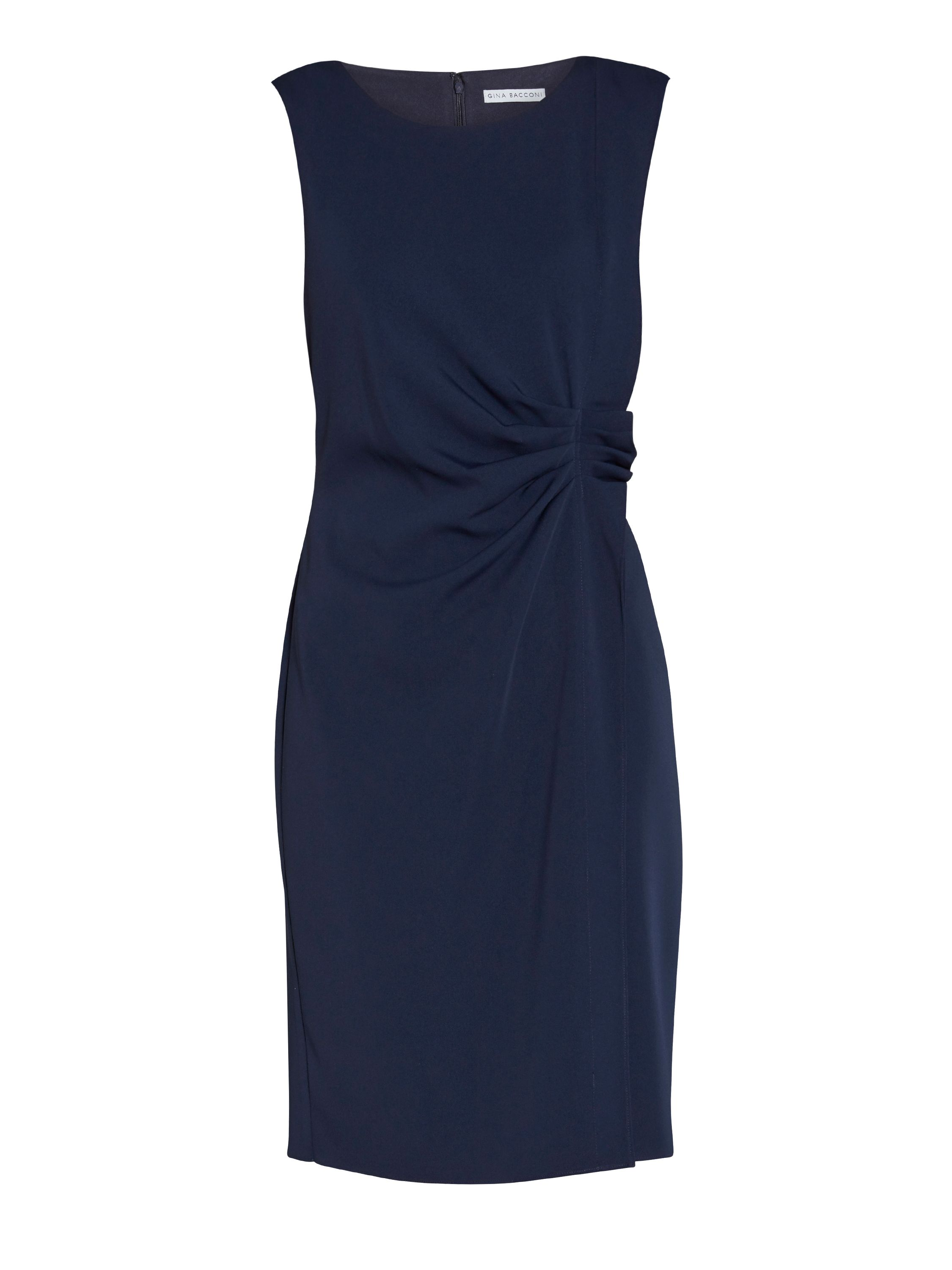 Gina Bacconi Moss crepe dress with waist detail, Blue