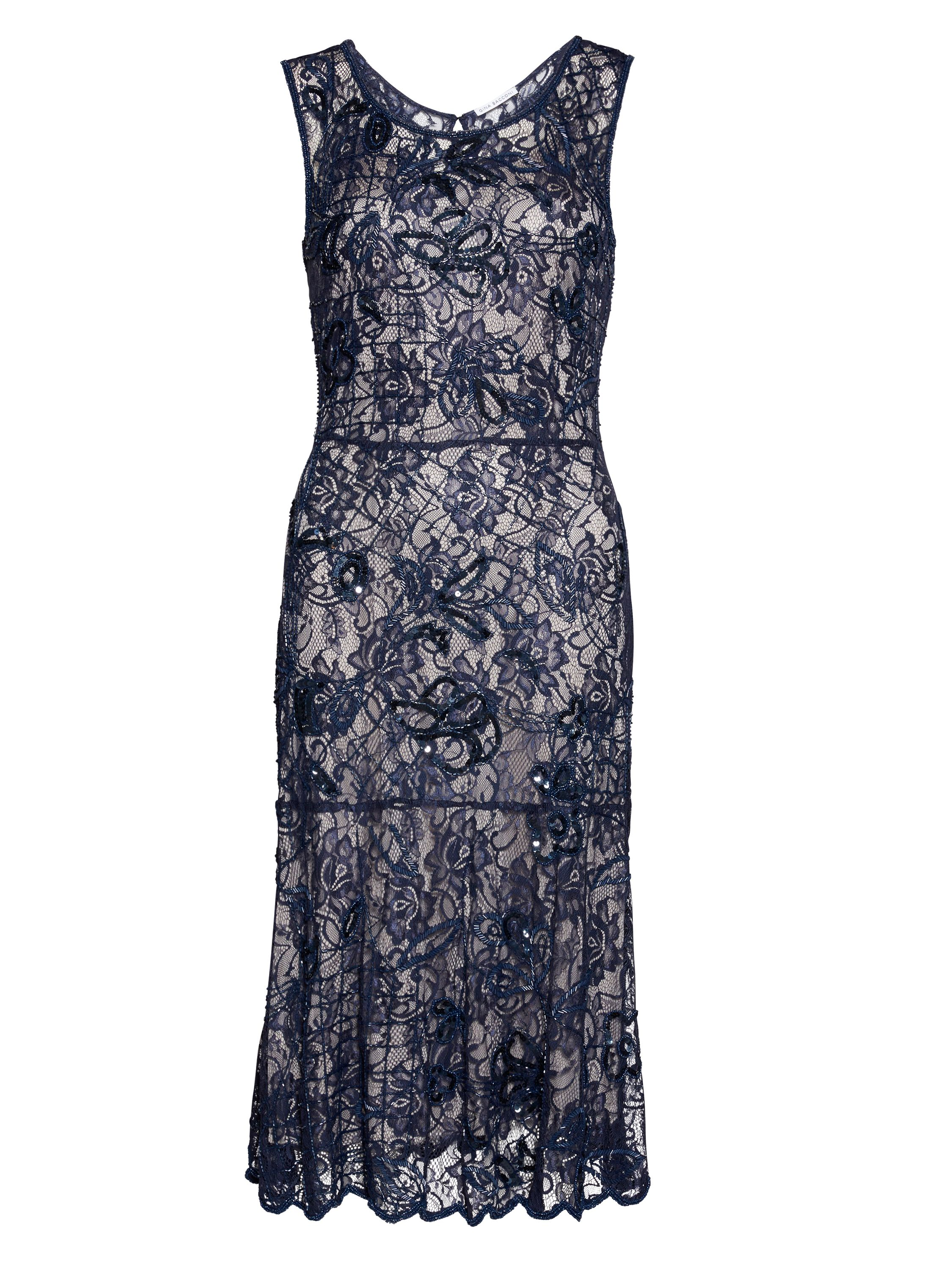 Gina Bacconi Beaded lace dress with slip, Blue