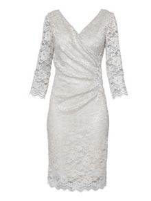 Gina Bacconi Eau De Nil Stretch Glitter Lace Dress