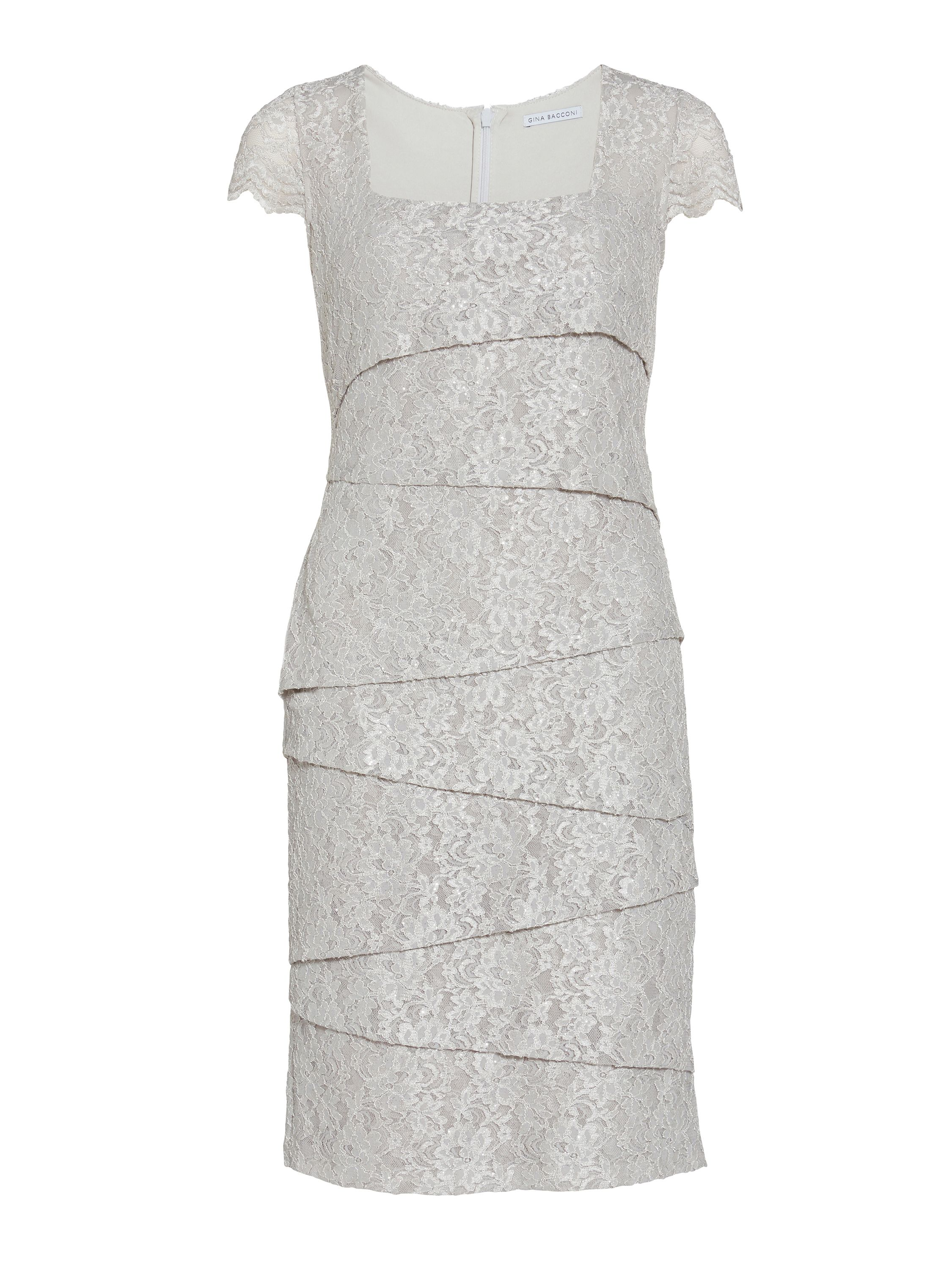 Gina Bacconi Layered lace dress, Silver