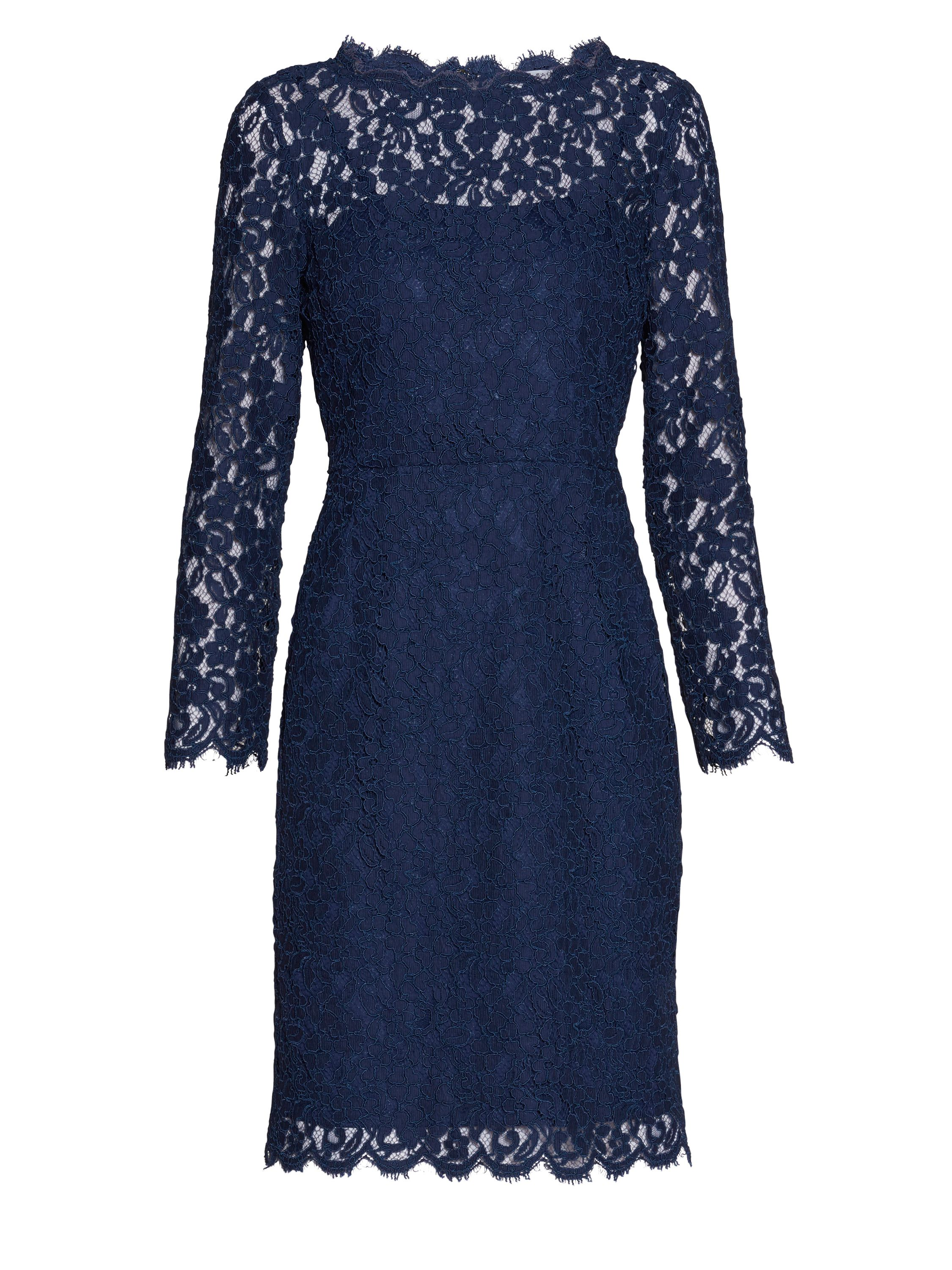 Gina Bacconi Lace dress with jewel flower buttons, Blue