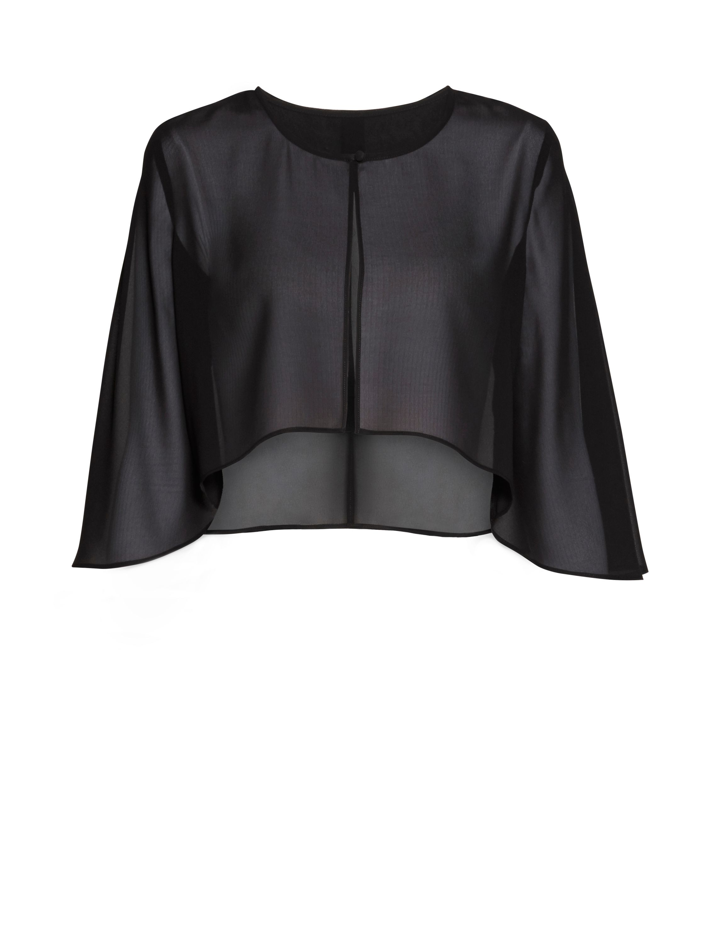 Gina Bacconi Chiffon cape with open back detail, Black