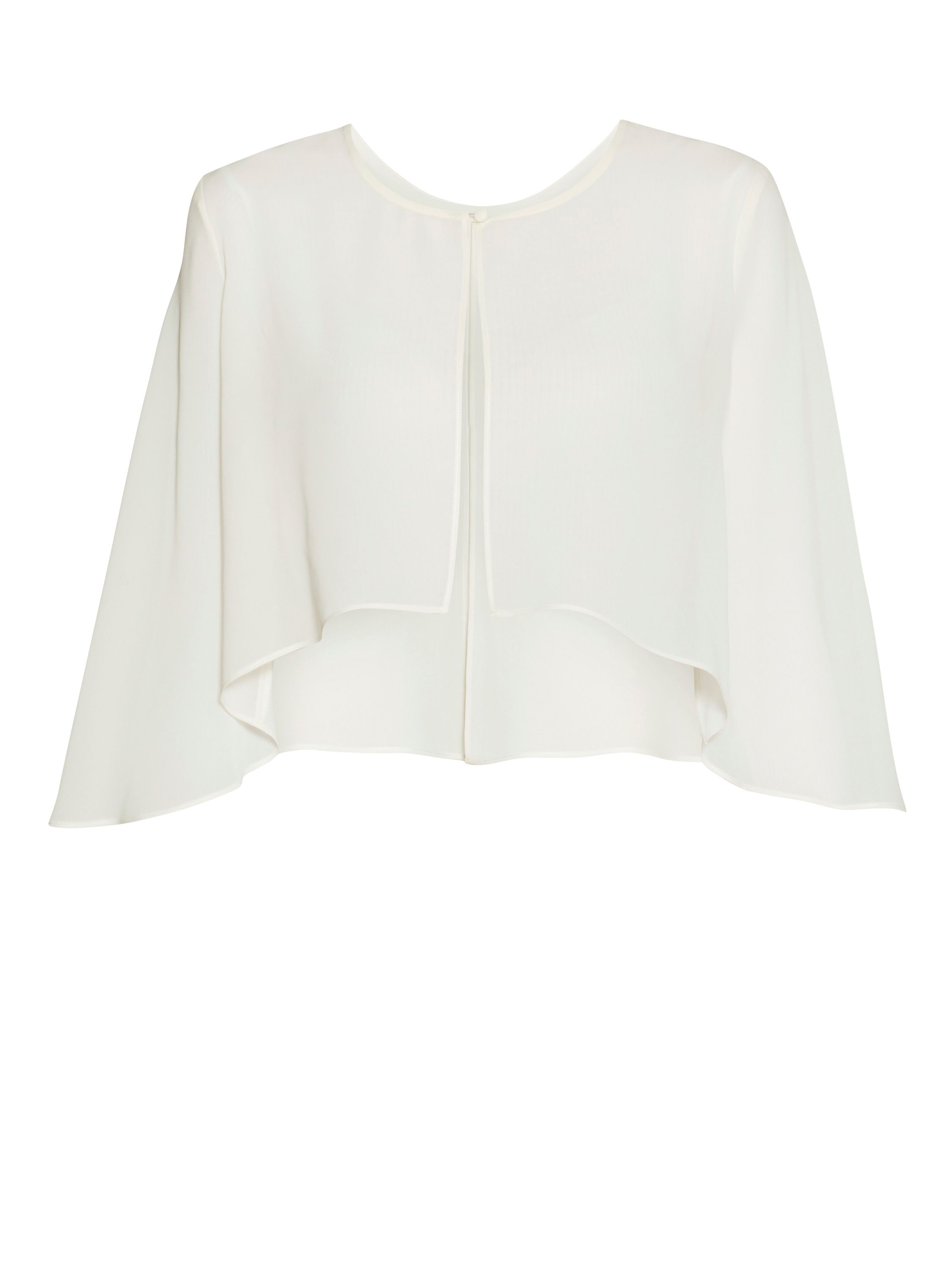 Gina Bacconi Chiffon cape with open back detail, Cream