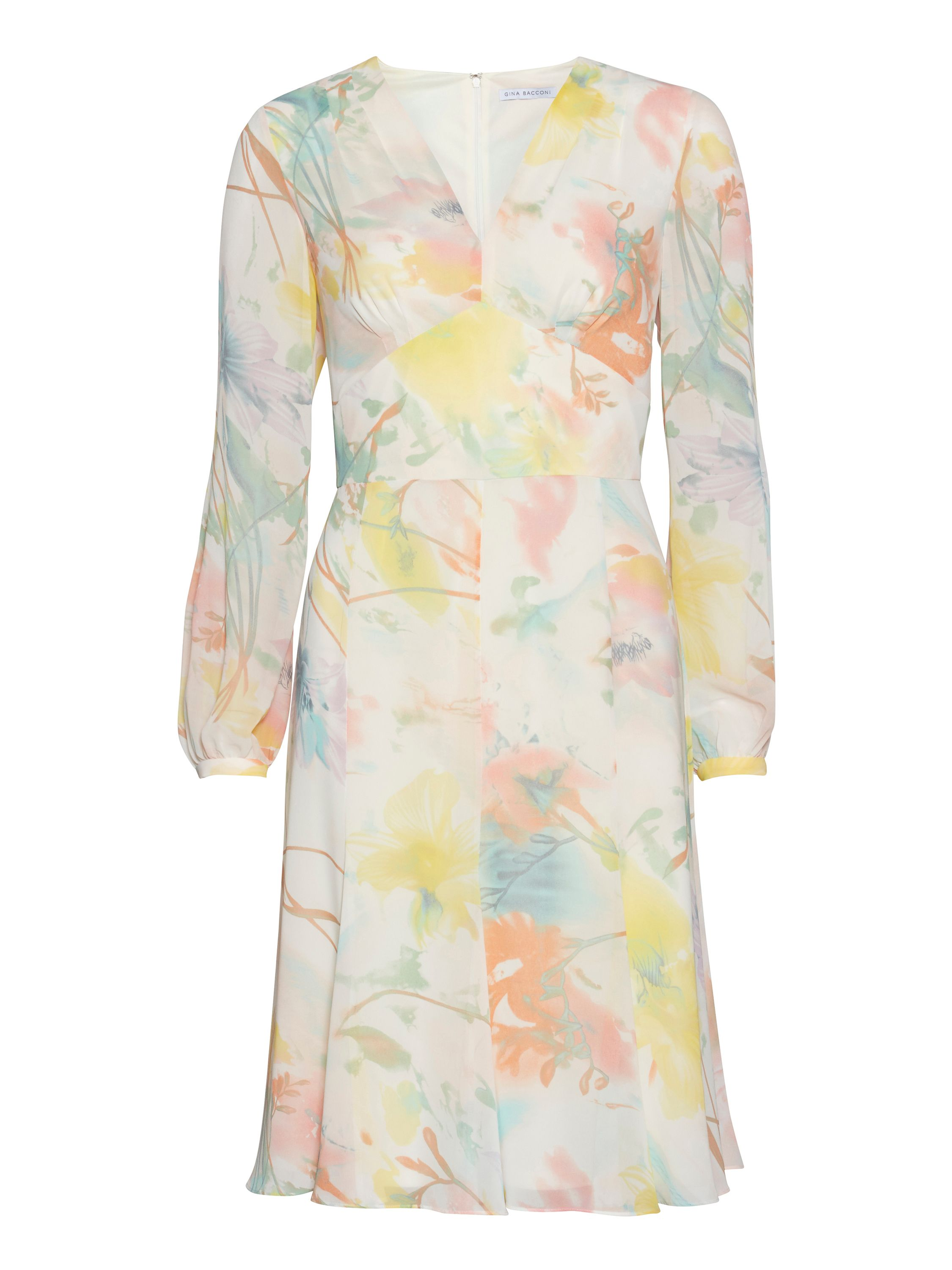 Gina Bacconi Multi watercolour floral chiffon dress, Multi-Coloured