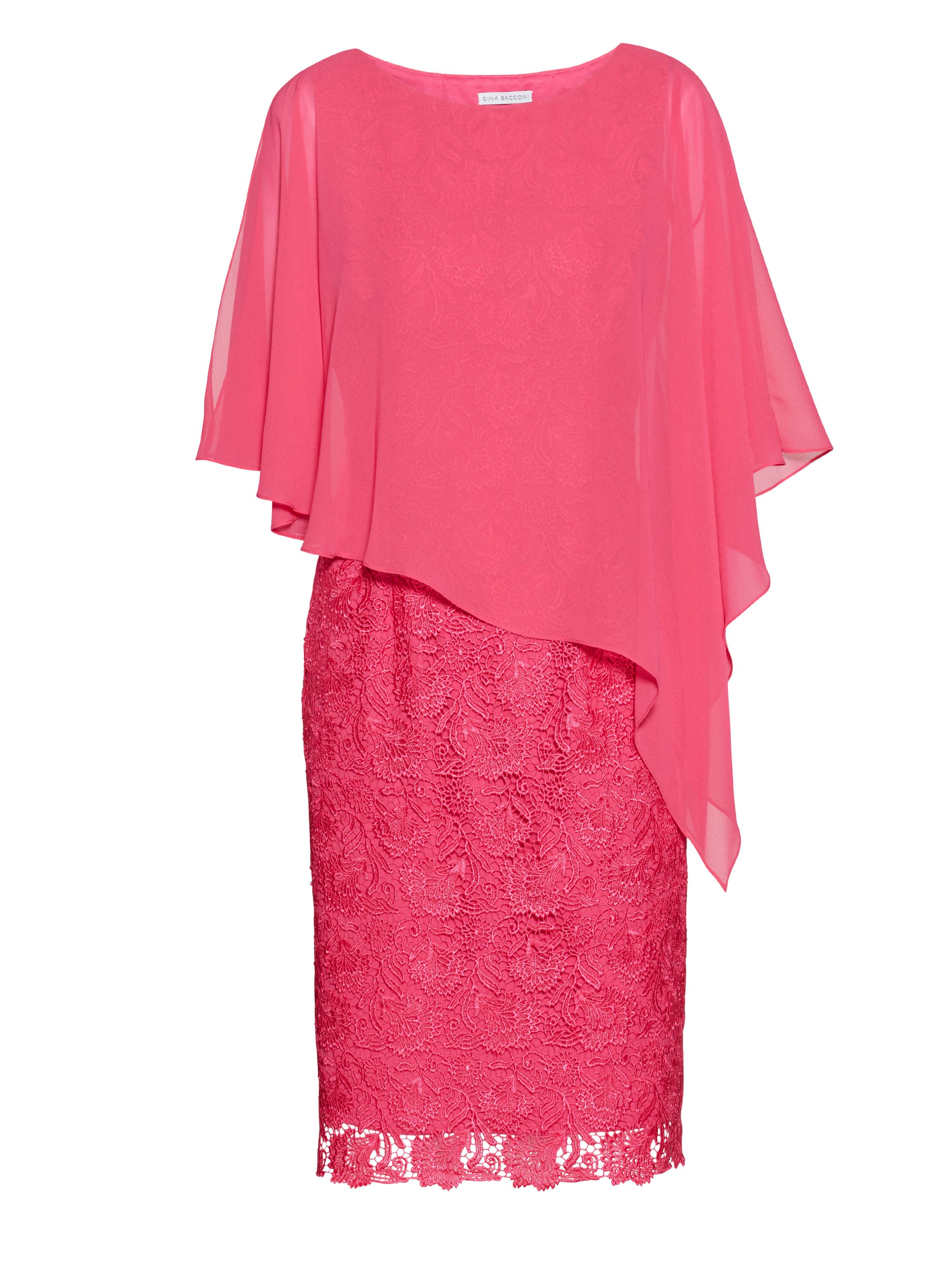 Gina Bacconi Red lace dress with chiffon cape, Pink