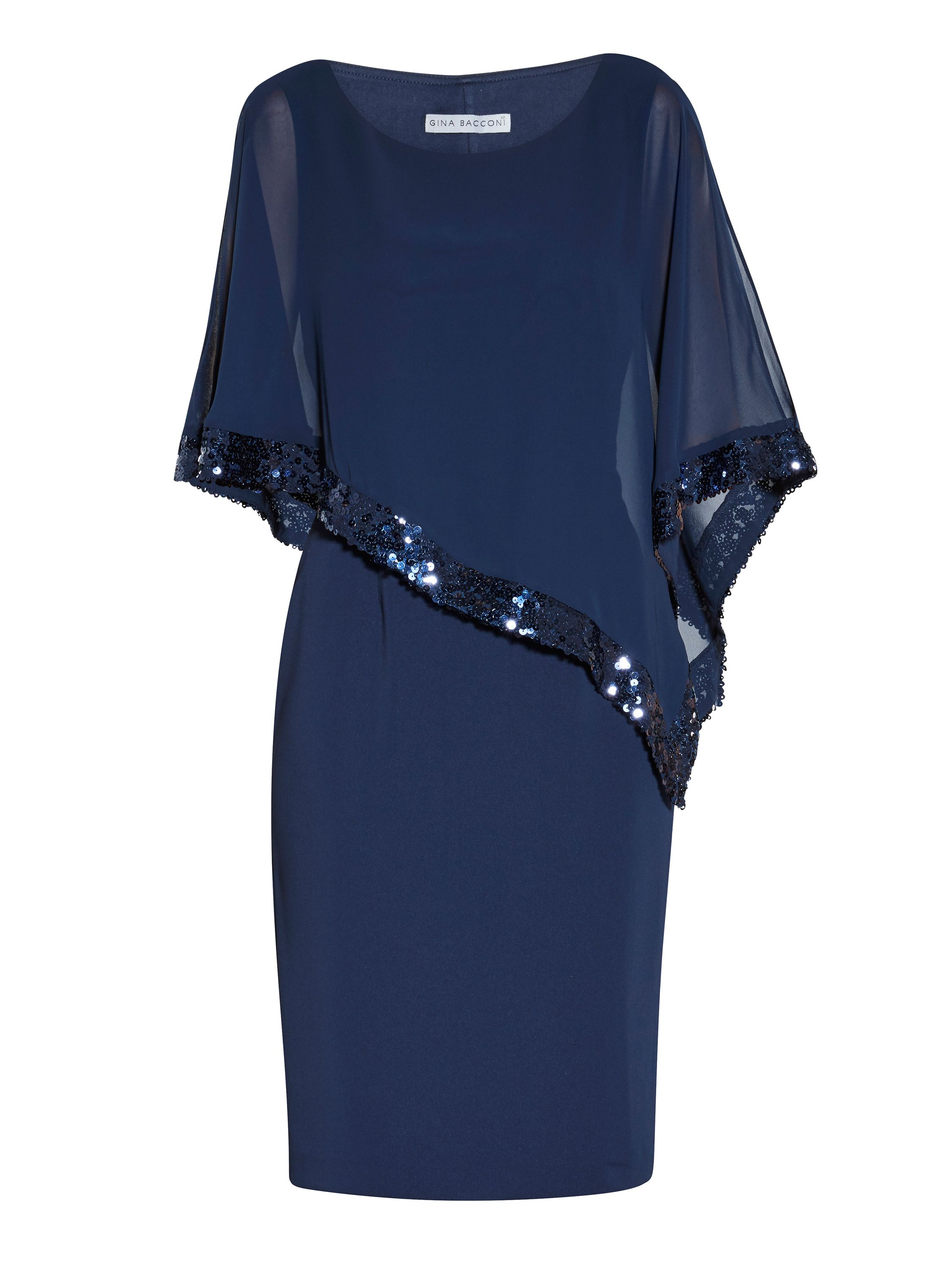 Gina Bacconi Crepe and chiffon dress with sequin trim, Dark Blue