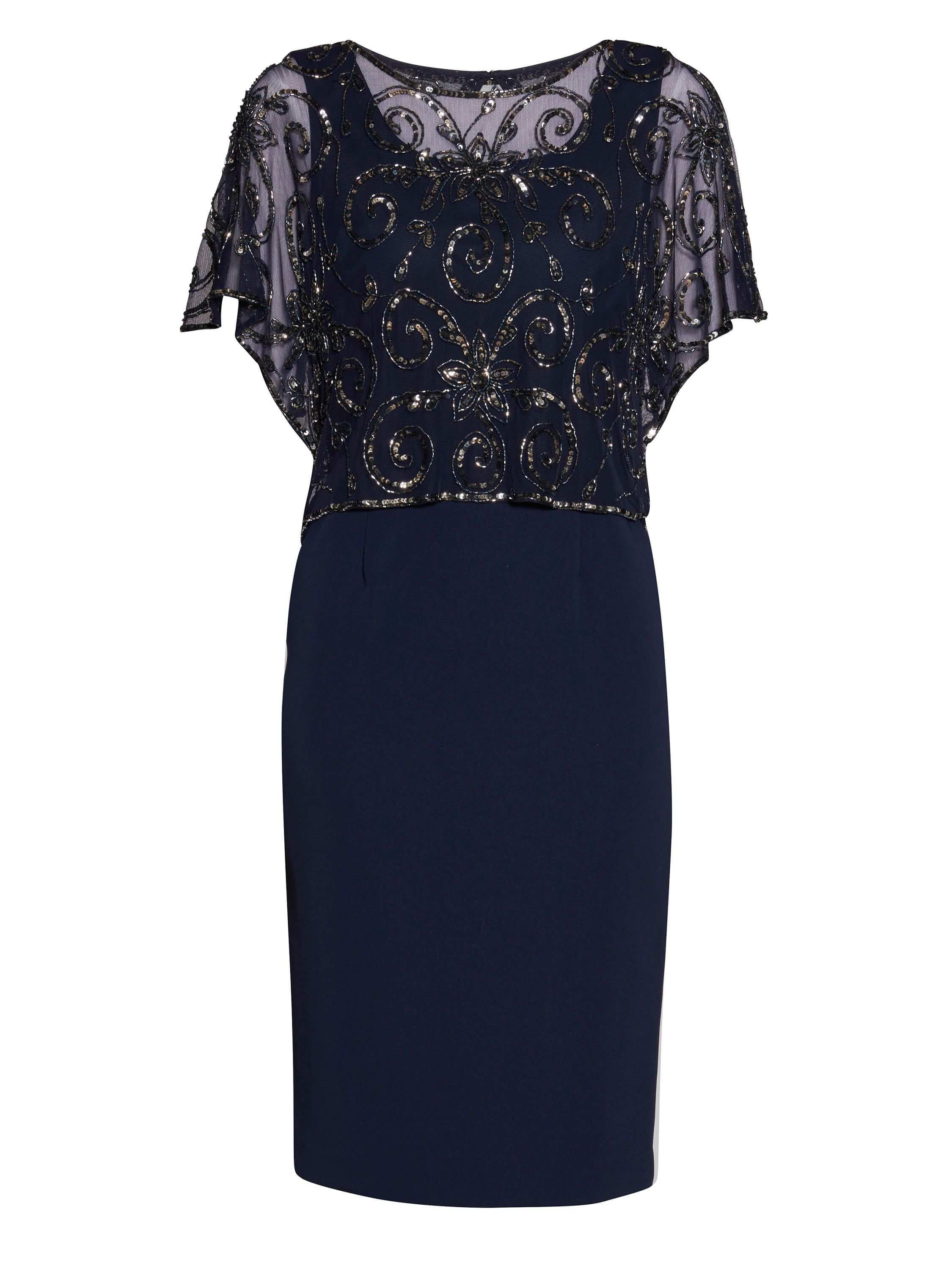 Gina Bacconi Crepe dress with beaded over top, Blue