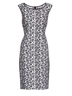 Black white jacquard unlined dress