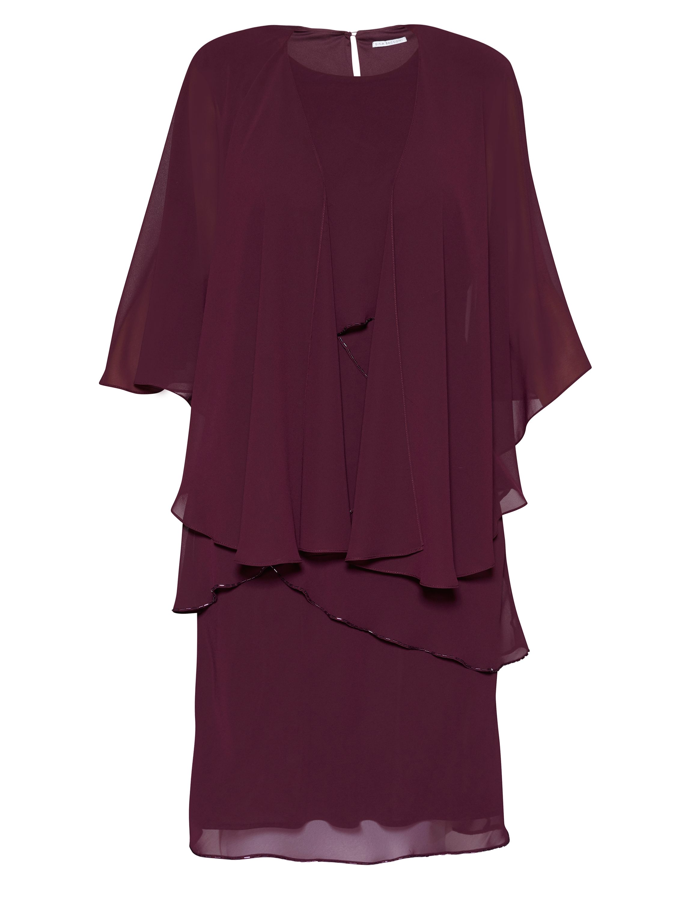Gina Bacconi Eleanor Dress With Shawl, Red