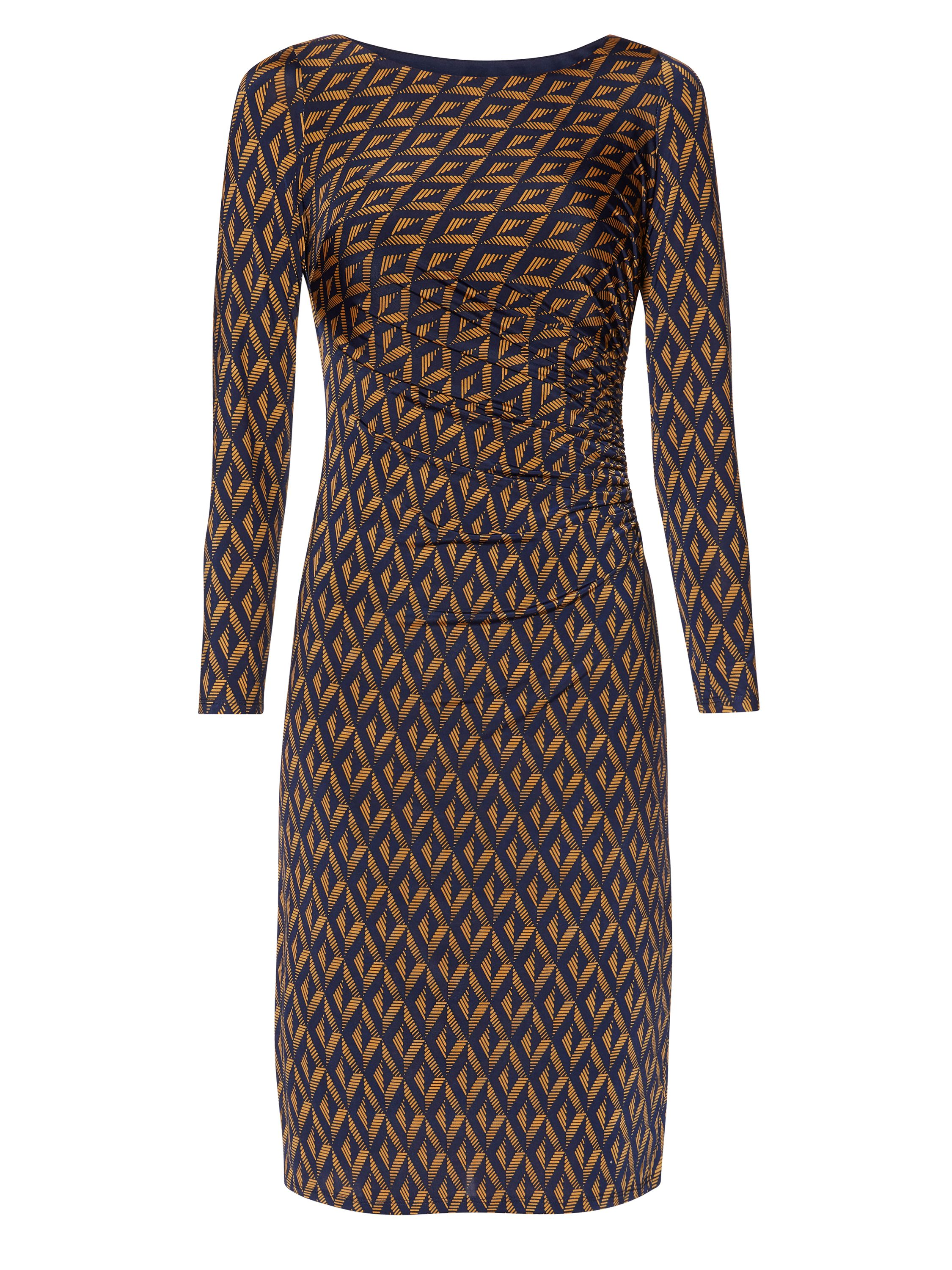 Gina Bacconi Navy Gold Print Jersey Dress, Multi-Coloured