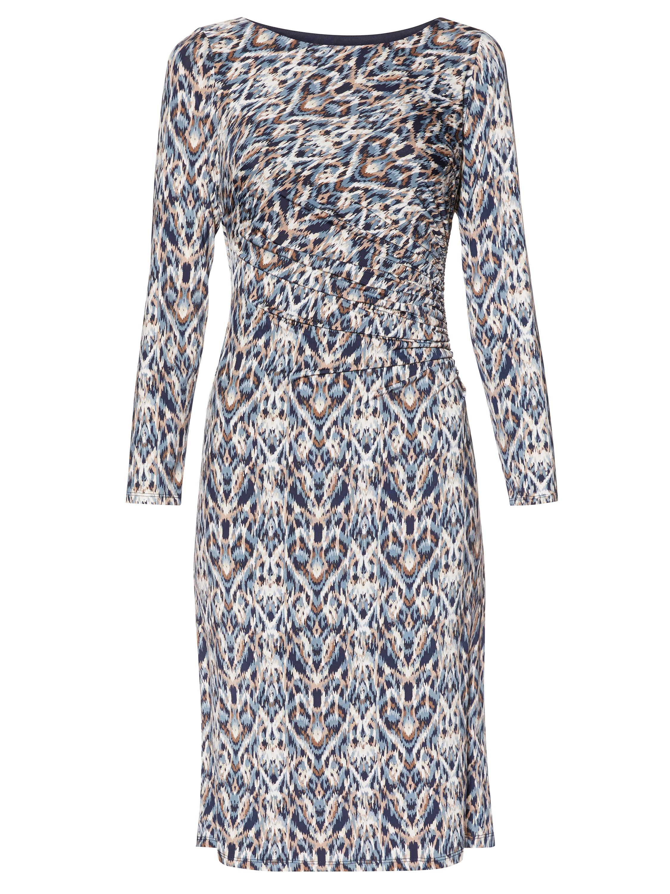 Gina Bacconi Blue Multi Print Jersey Dress, Multi-Coloured