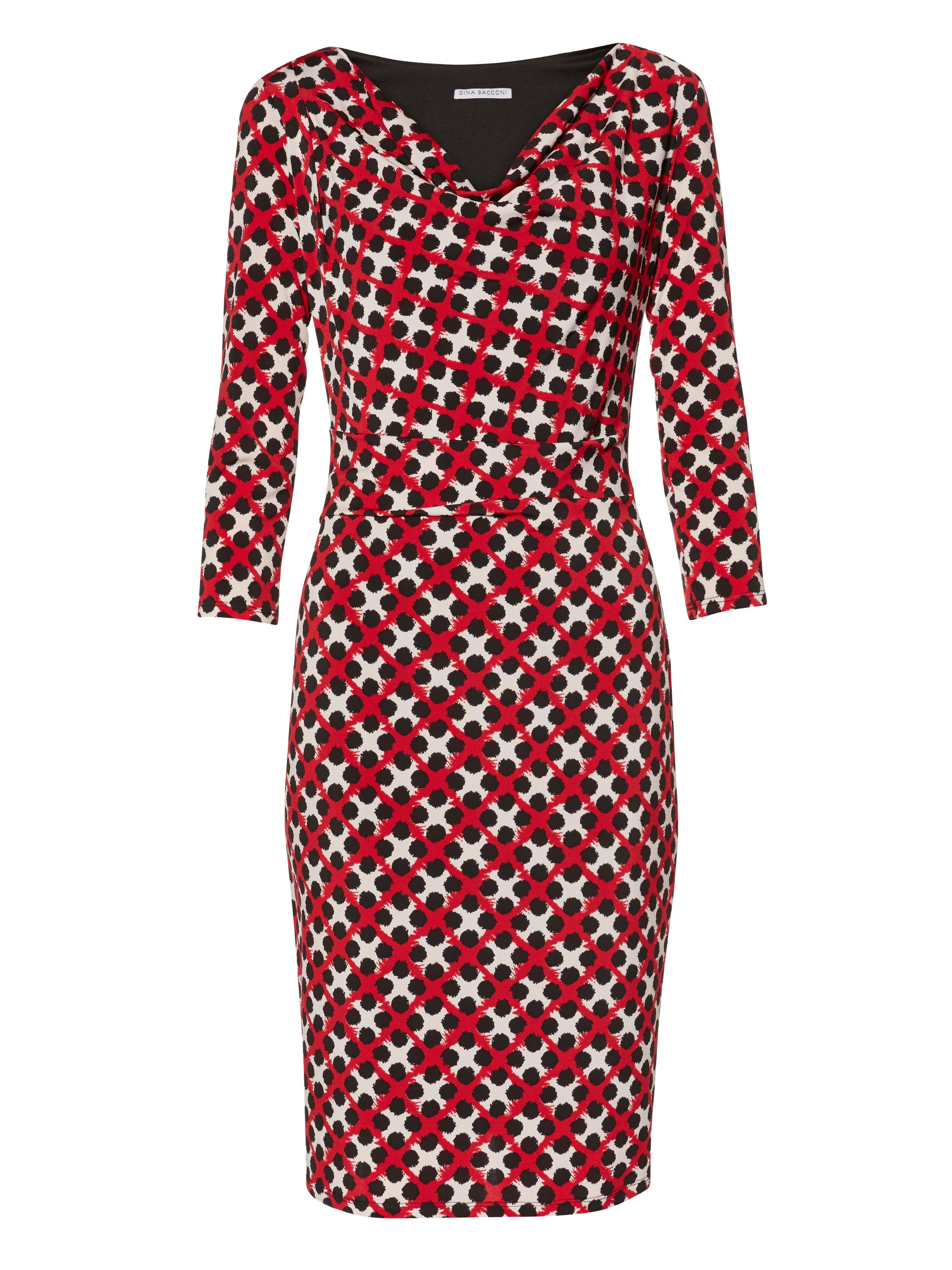 Gina Bacconi Check And Spot Print Jersey Dress, Red