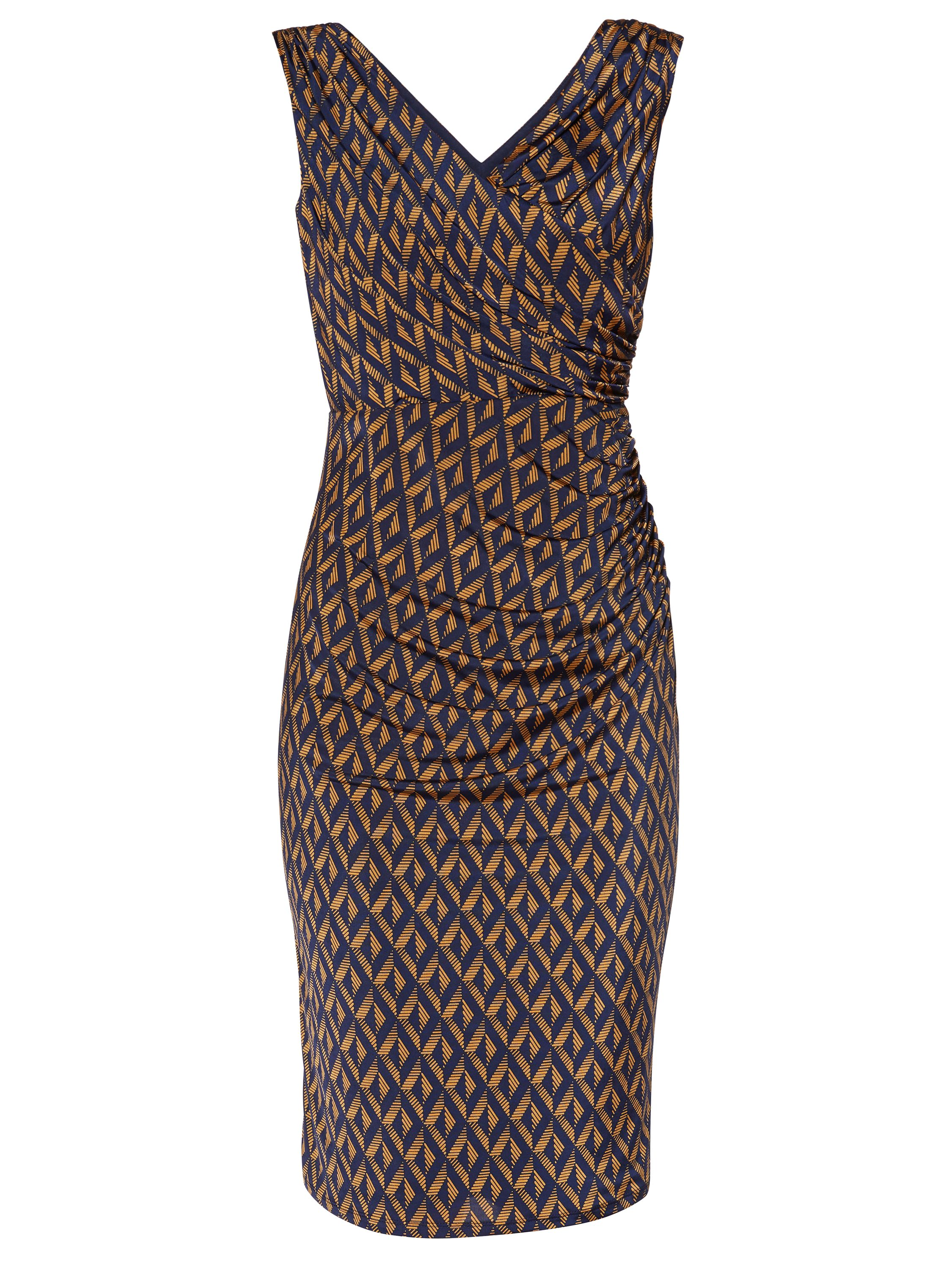 Gina Bacconi Navy Gold Print Jersey Sleeveless Dress, Multi-Coloured