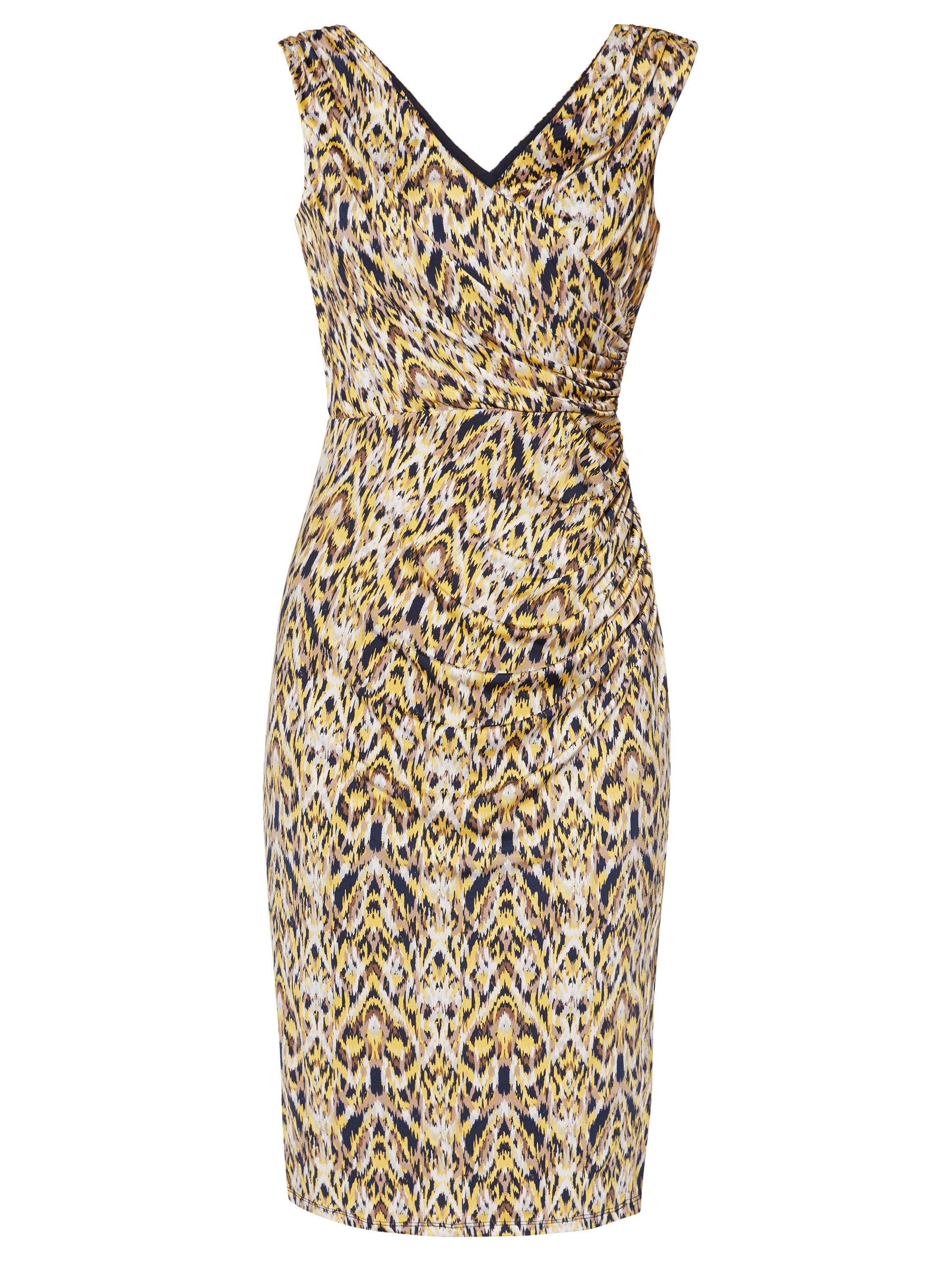 Gina Bacconi Yellow Blue Print Jersey Dress, Yellow