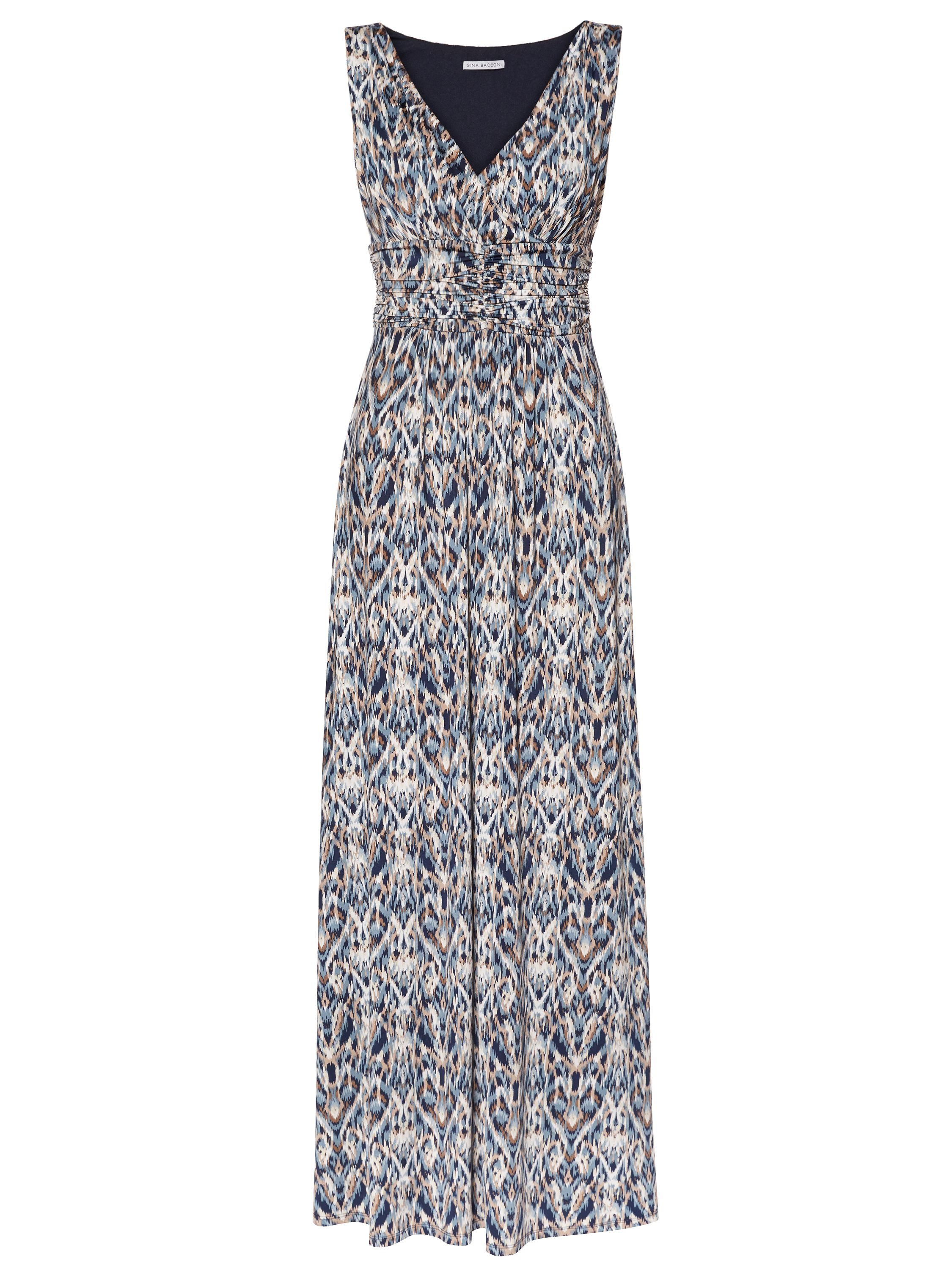 Gina Bacconi Blue Multi Print Jersey Maxi Dress, Multi-Coloured