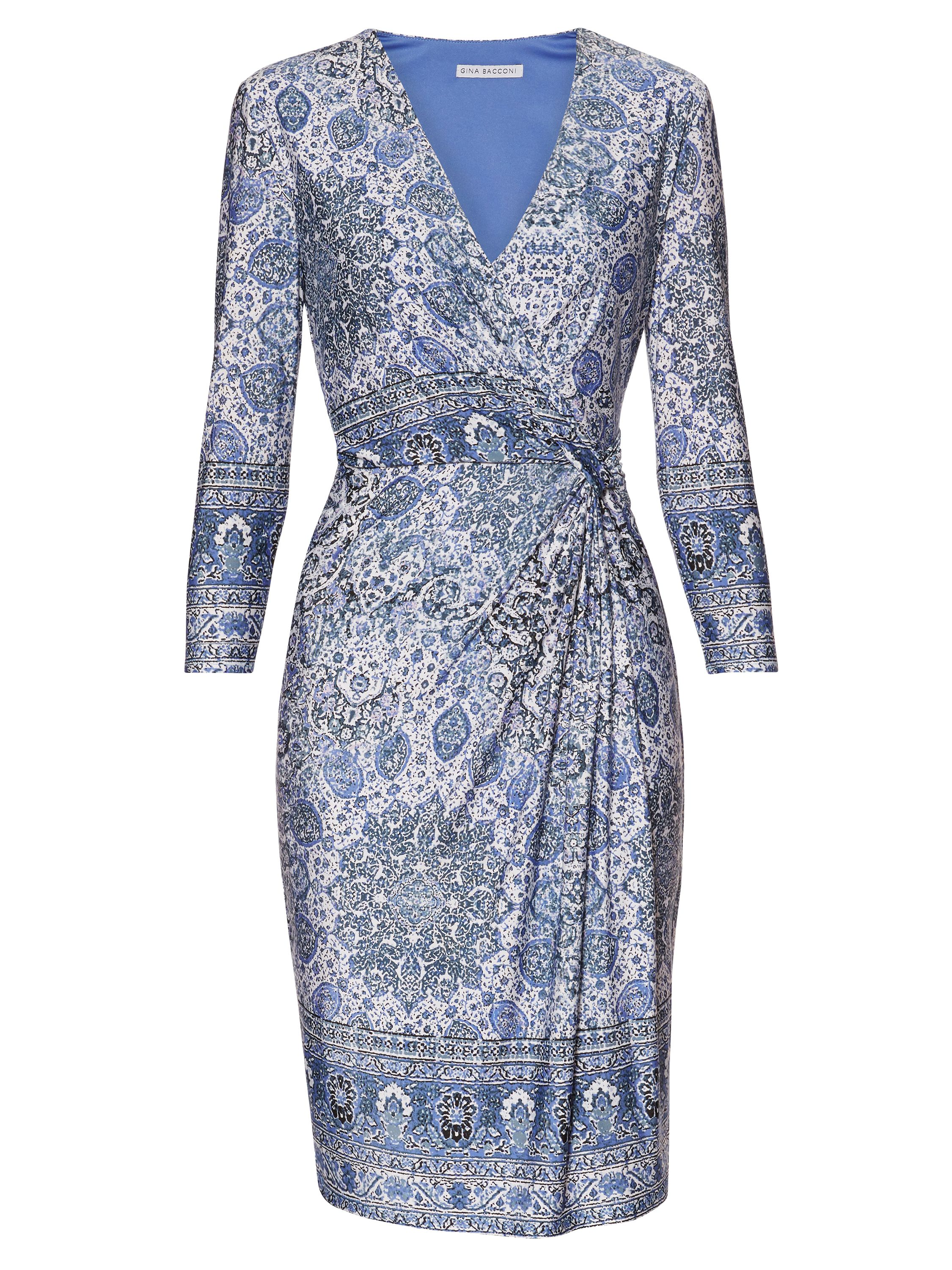Gina Bacconi Blue Border Print Jersey Dress, Blue