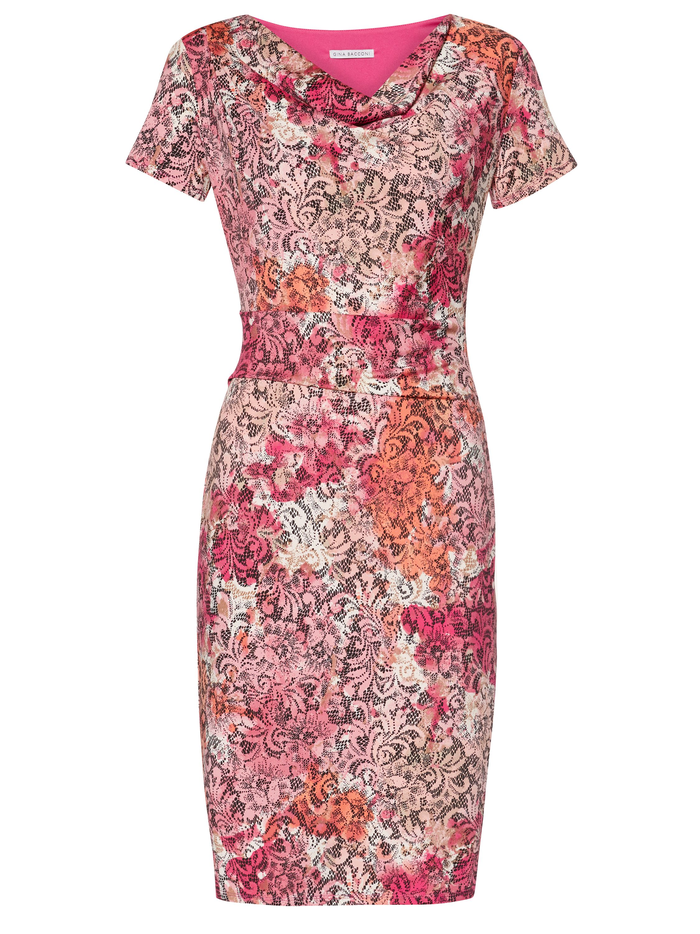 Gina Bacconi Pink Lace Effect Jersey Dress, Pink