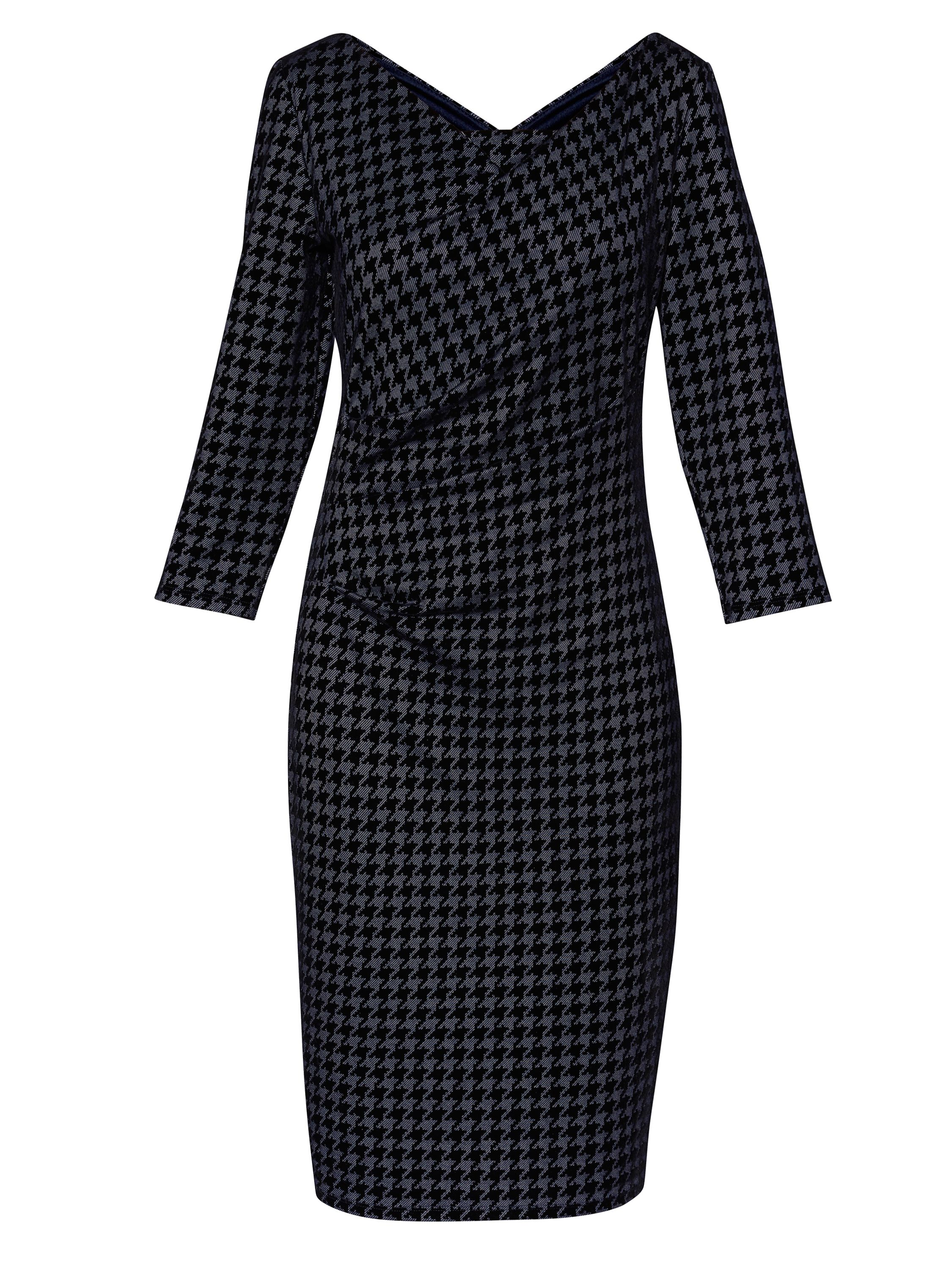 Gina Bacconi Rachel Dogtooth Flock Dress, Dark Blue