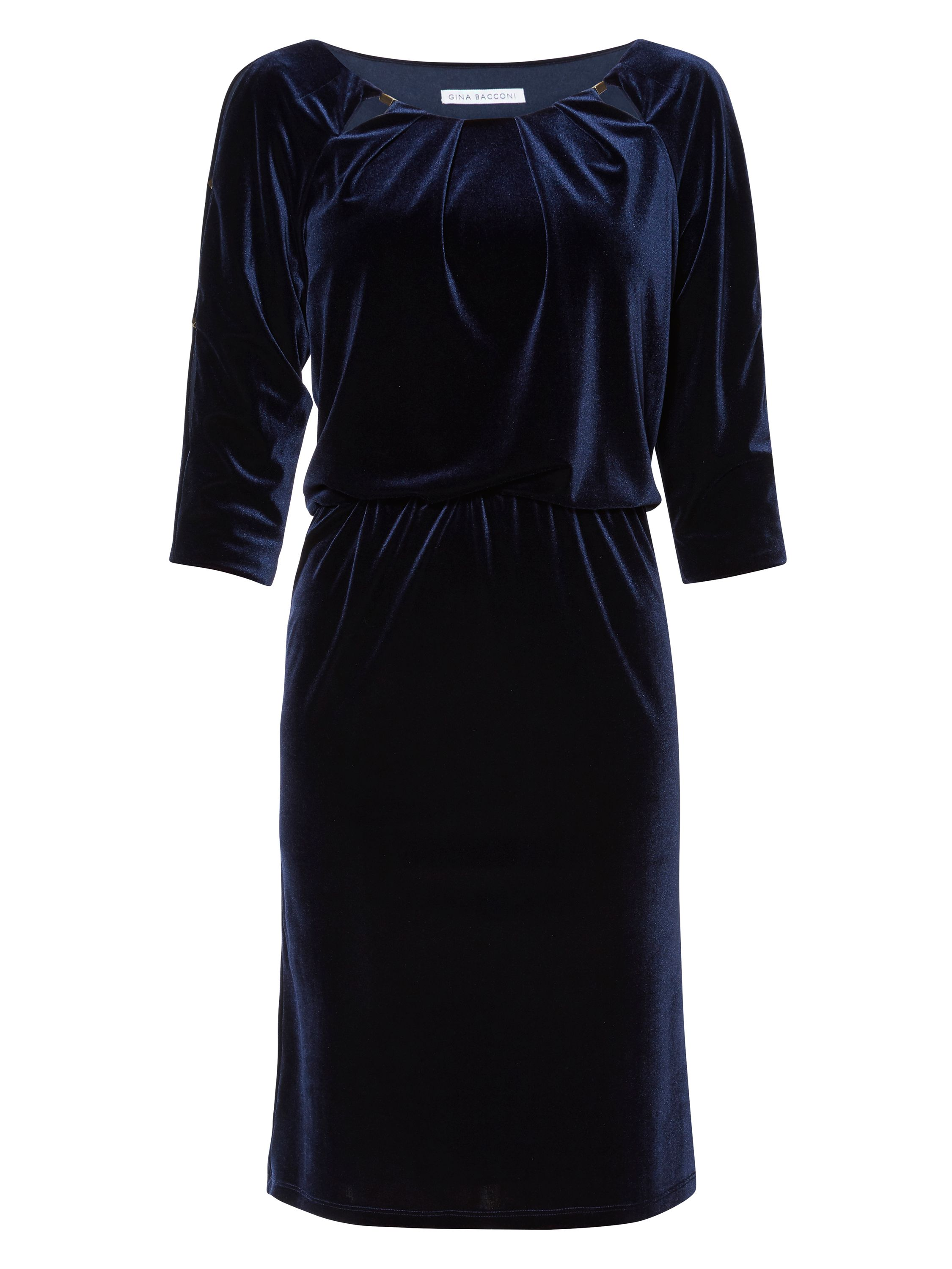 Gina Bacconi Lillian Velvet Keyhole Dress, Blue
