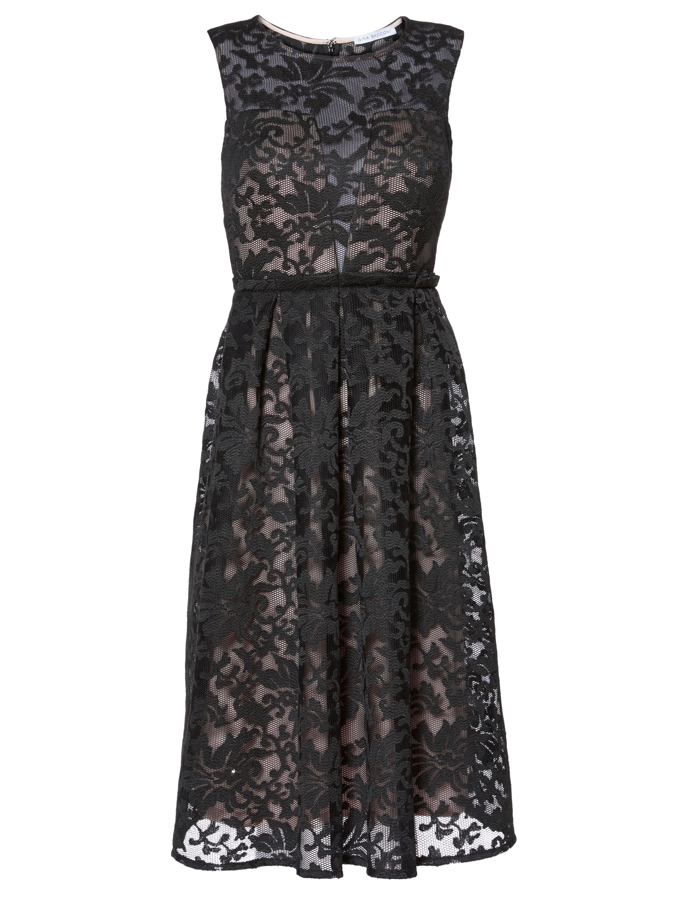 Gina Bacconi Emily Embroidered Mesh Dress, Black