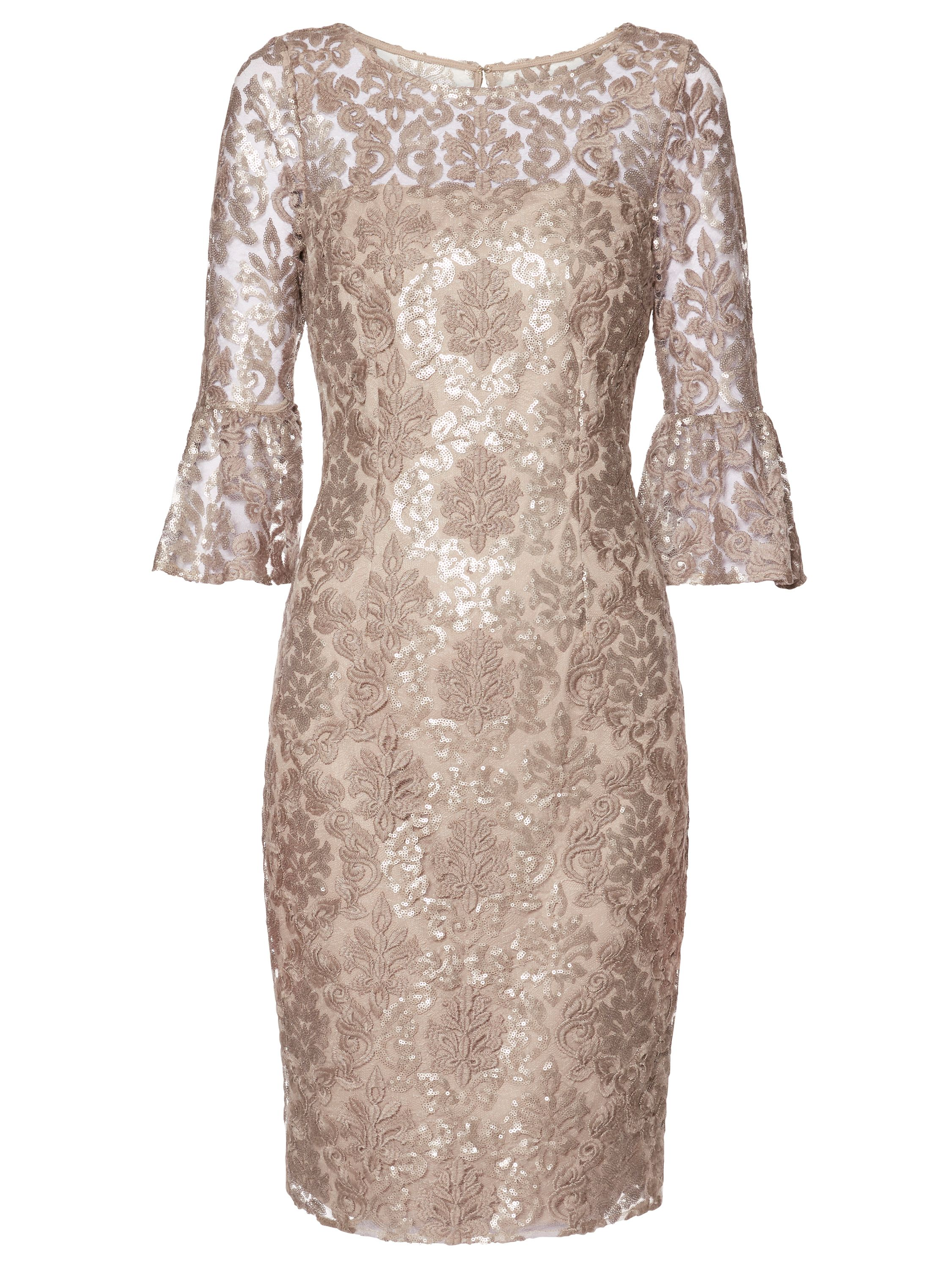 Gina Bacconi Candace Sequin Embroidery Dress, White