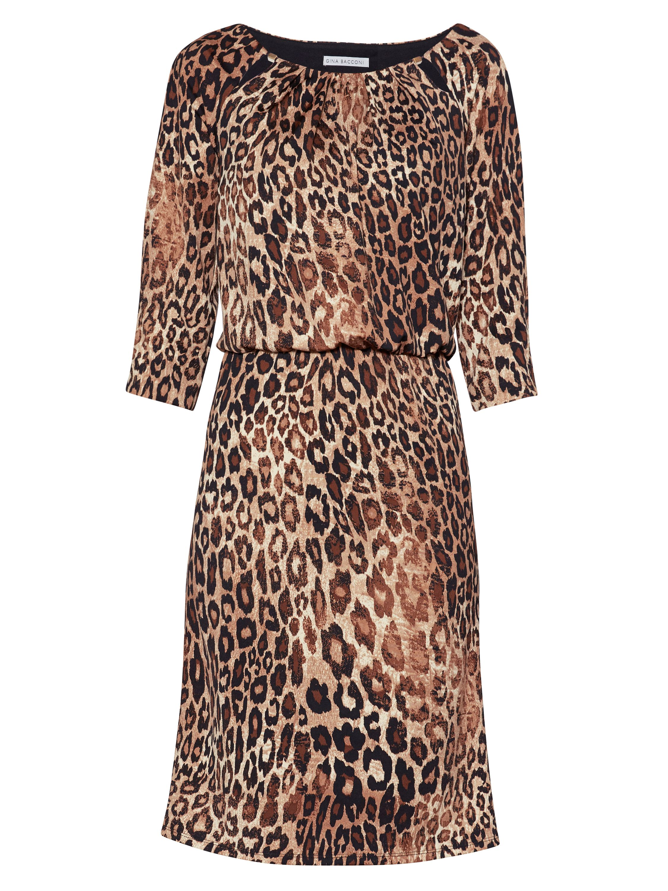 Gina Bacconi Ines Keyhole Print Dress, Brown