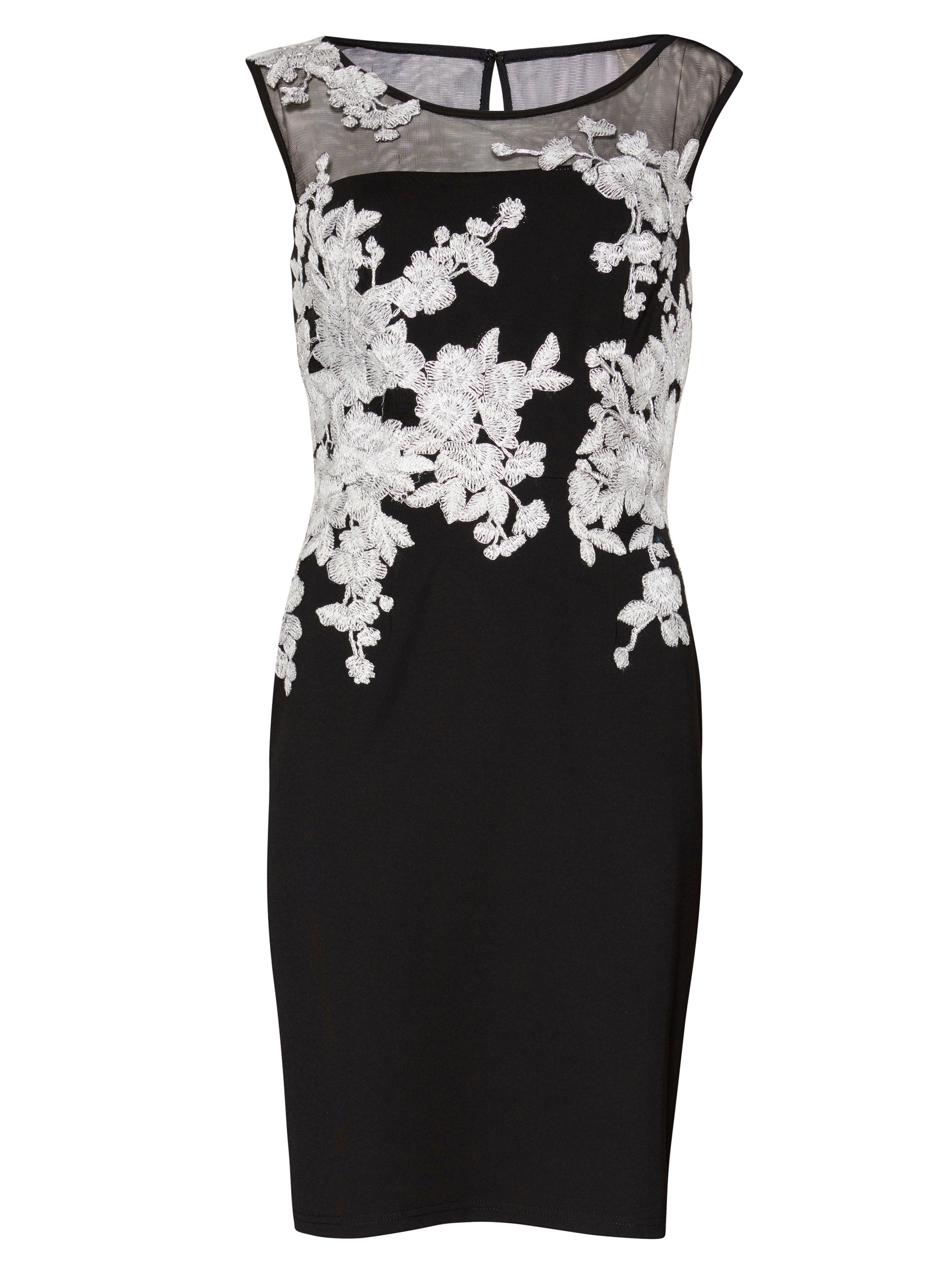 Gina Bacconi Olivia Contrast Embroidery Dress, Black