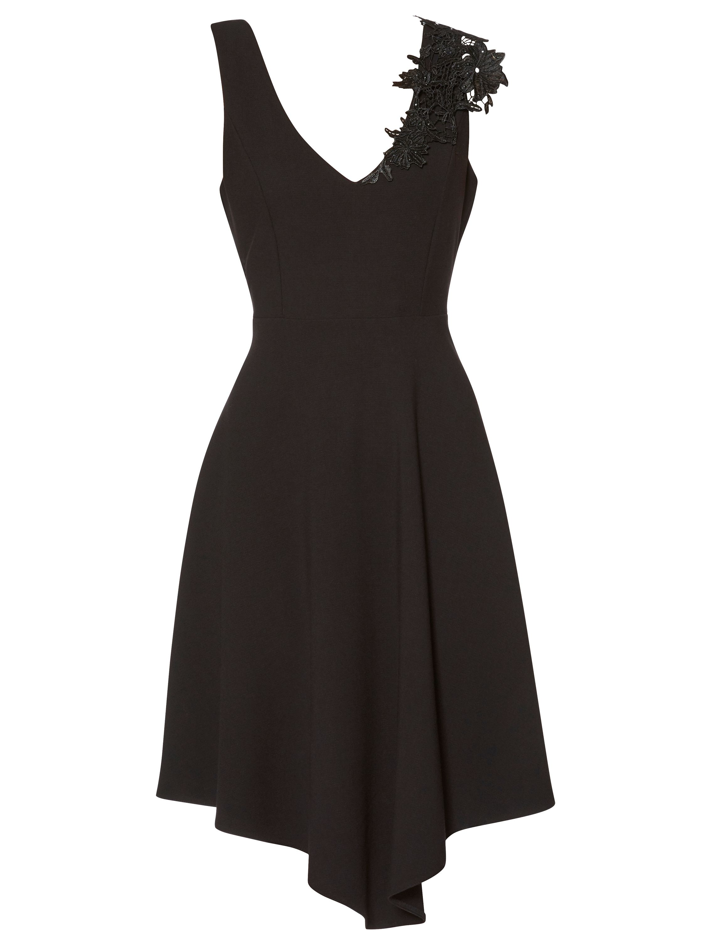 Gina Bacconi Evelina Lace Trim Dress, Black