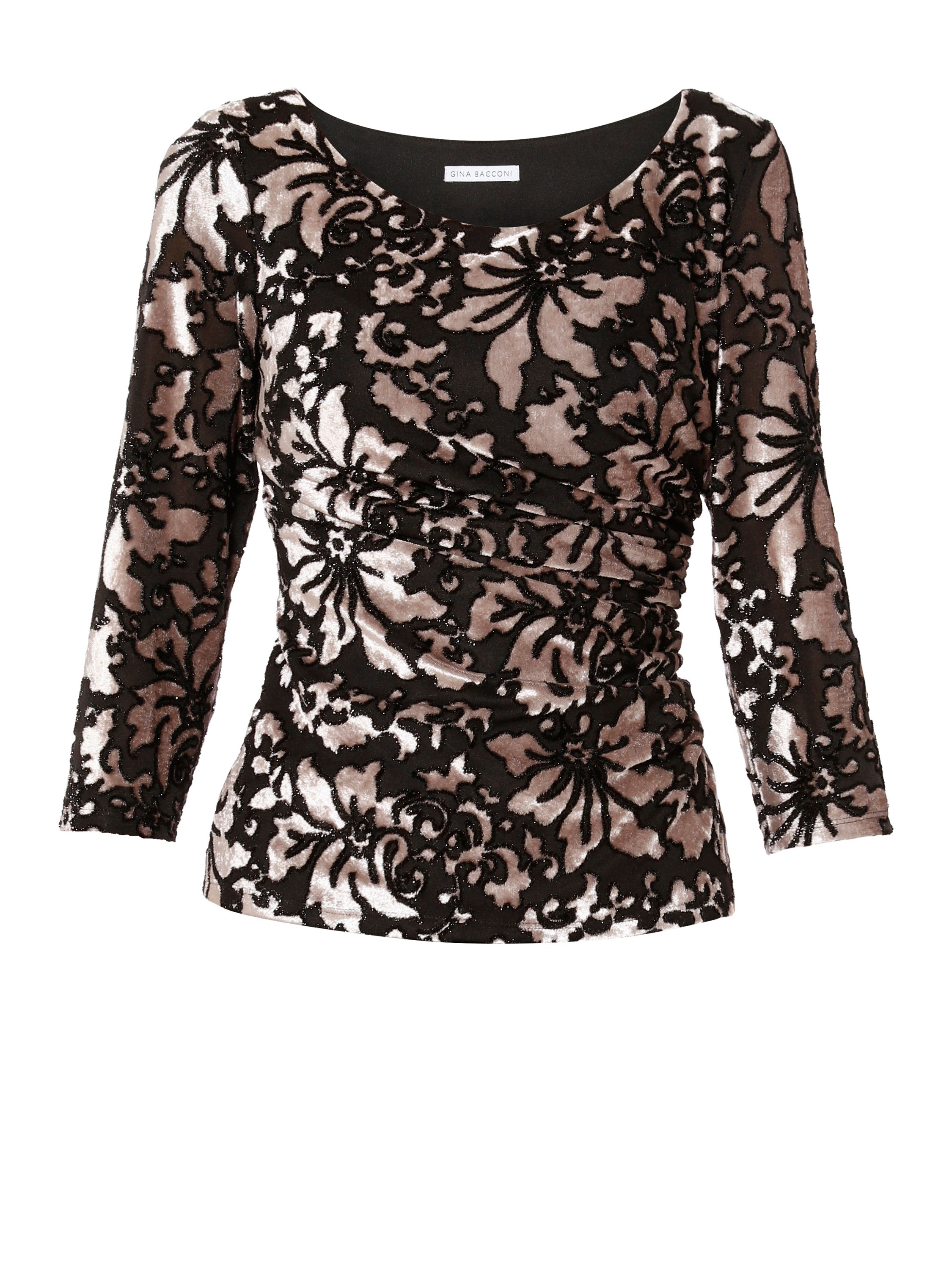 Gina Bacconi Margaret Floral Velvet Top, Multi-Coloured