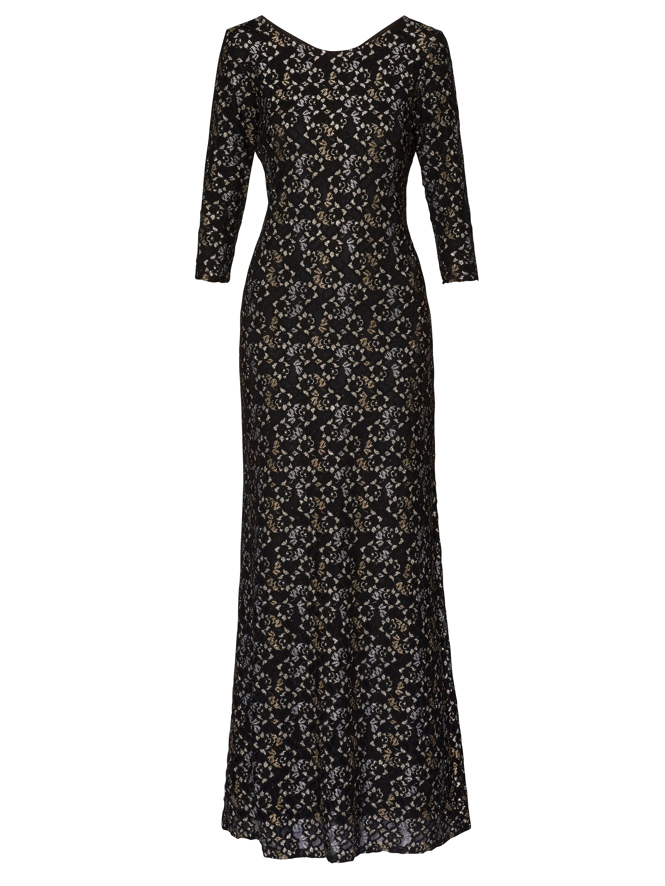 Gina Bacconi Marie Lace Maxi Dress, Black