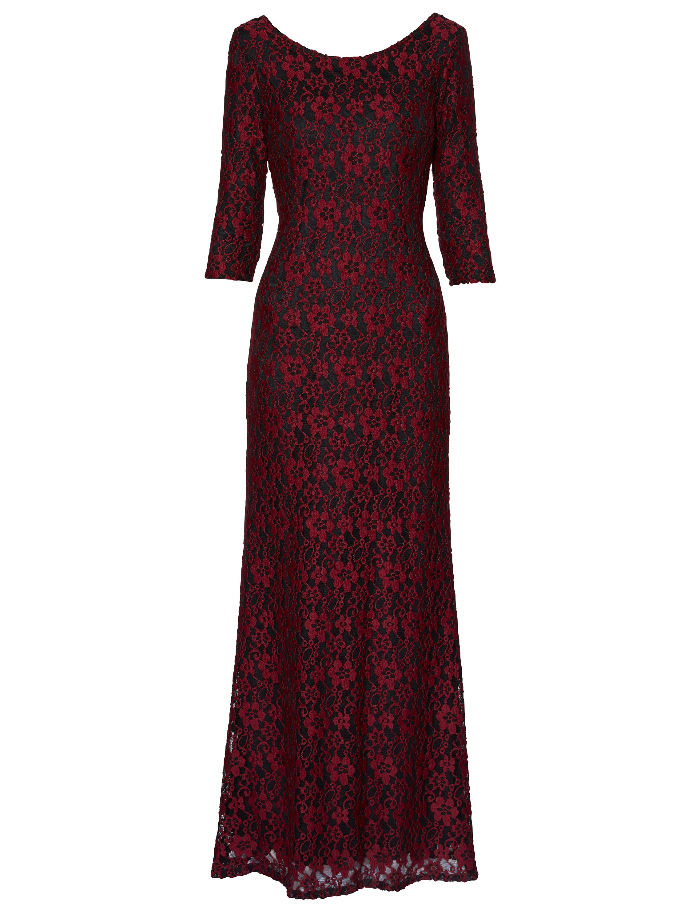 Gina Bacconi Lola Floral Lace Maxi Dress, Red