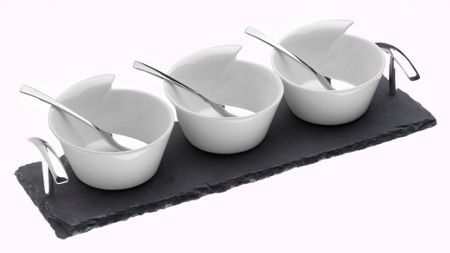 Arthur Price Set of 3 ceramic bowls and spoons on a slate base