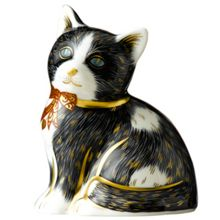 Royal Crown Derby Black & white kitten paperweight