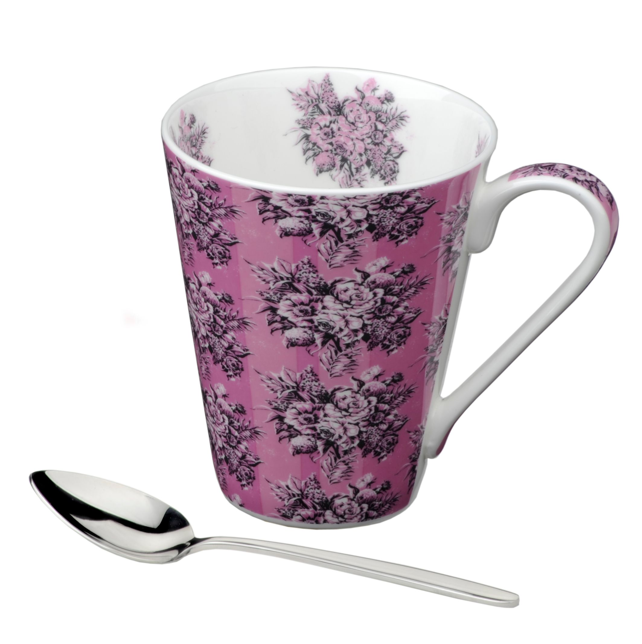 Llewelyn Bowen bone china mug & spoon Decolletage