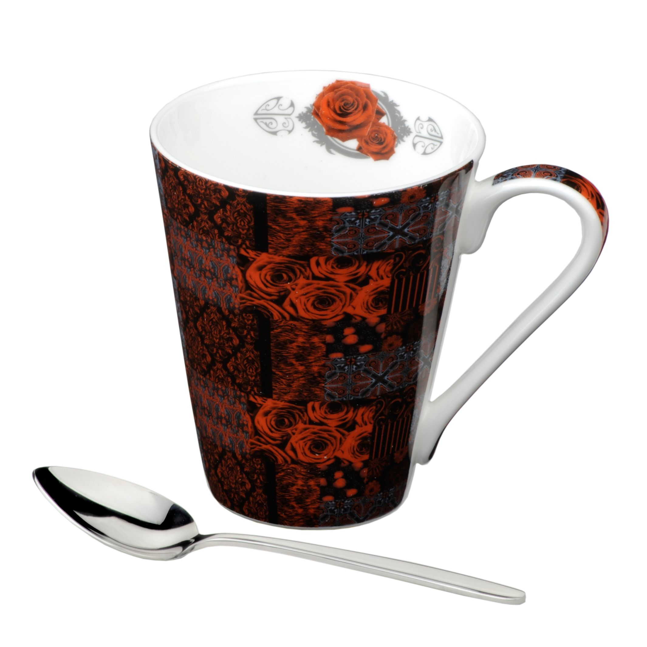 Llewelyn Bowen bone china mug & spoon Risque