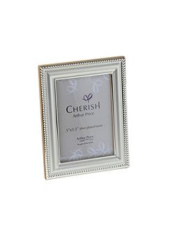 Silver plated 3.5 x 5 Bead photograph frame