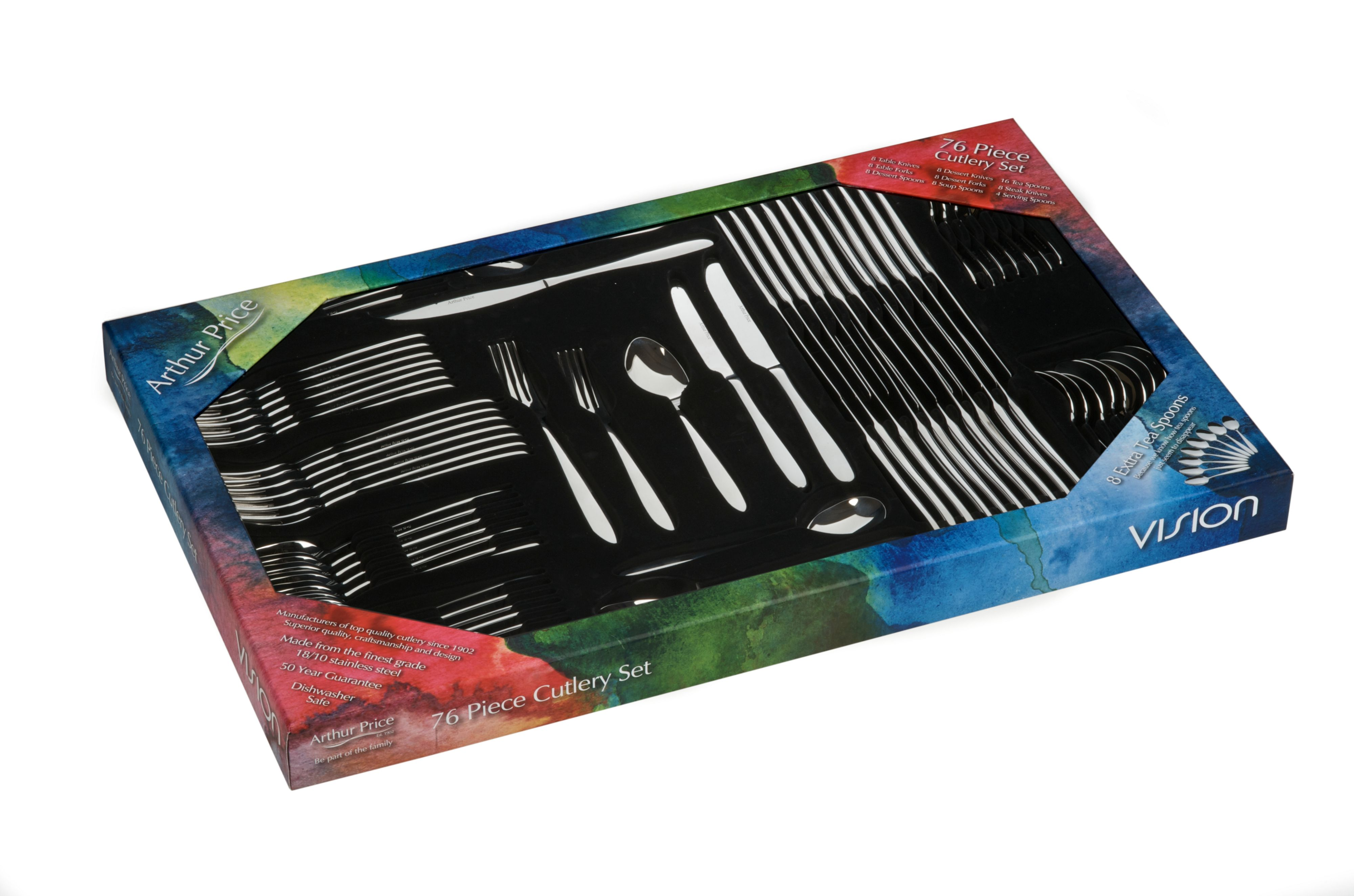 Vision 76 pce 8 person stainless steel box set