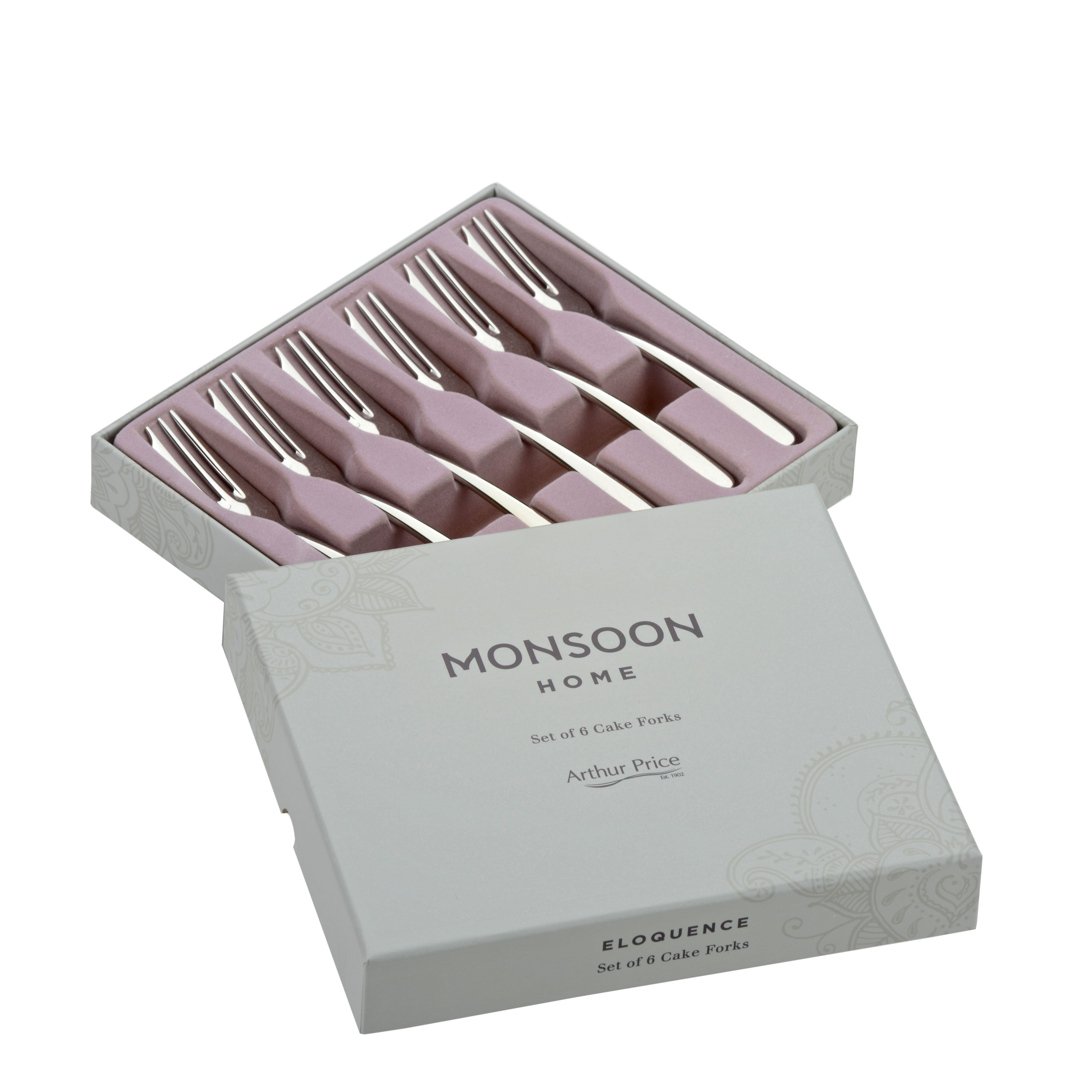 Monsoon box of 6 stainless steel pastry forks