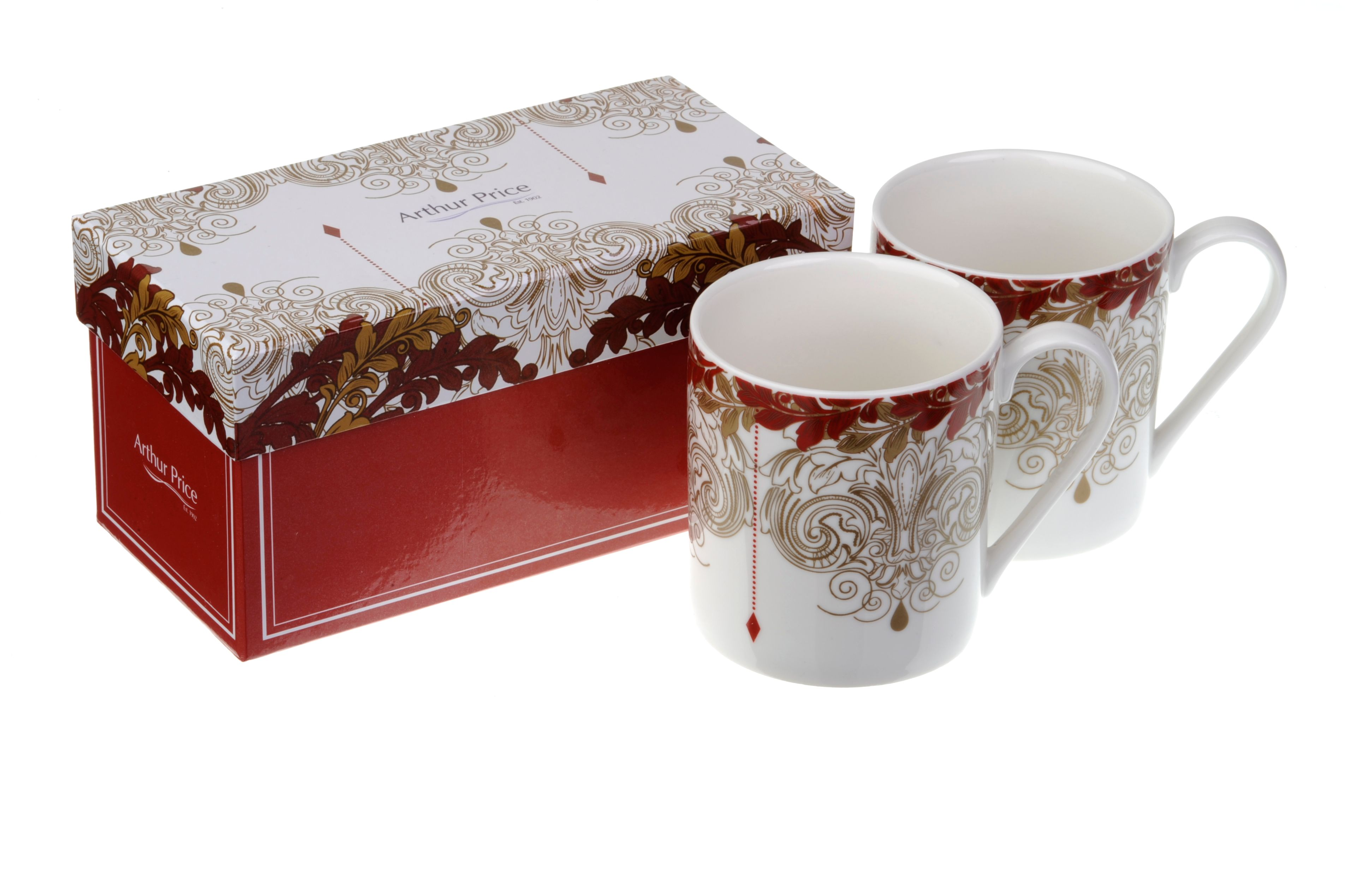 Pair of Arthur Price Christmas mugs frankincense